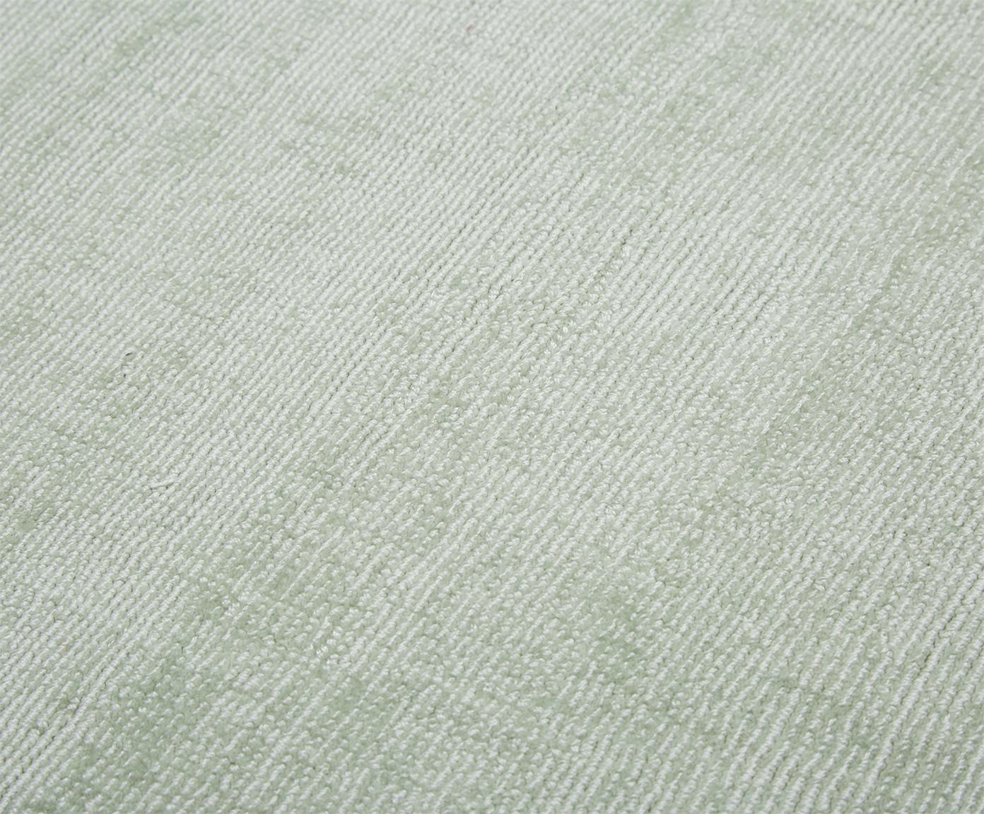 Okrągły ręcznie tkany dywan z wiskozy Jane, Zielony miętowy, Ø 200 cm (Rozmiar L)