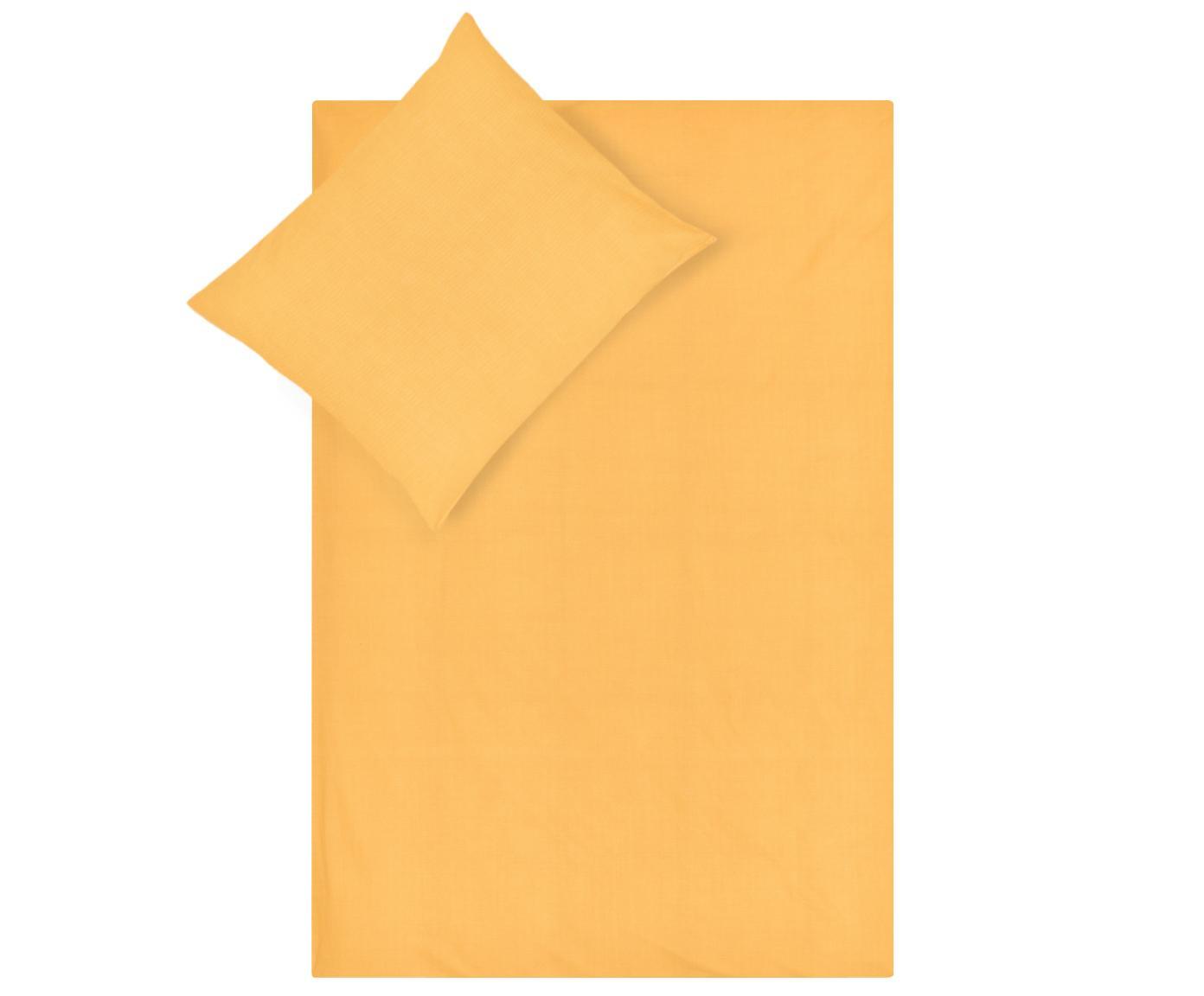 Renforcé dekbedovertrek Soft Structure met zeer fijn patroon, Weeftechniek: renforcé, Okergeel, 240 x 220 cm