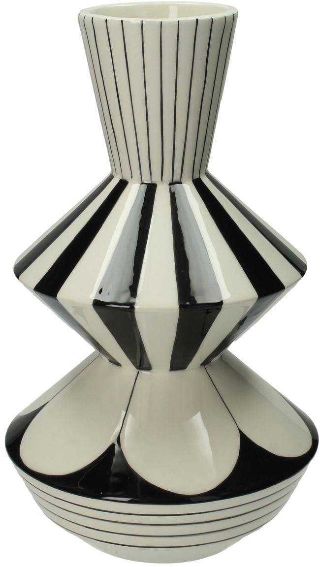 Jarrón Graphic, Gres, Blanco, negro, Ø 17 x Al 29 cm