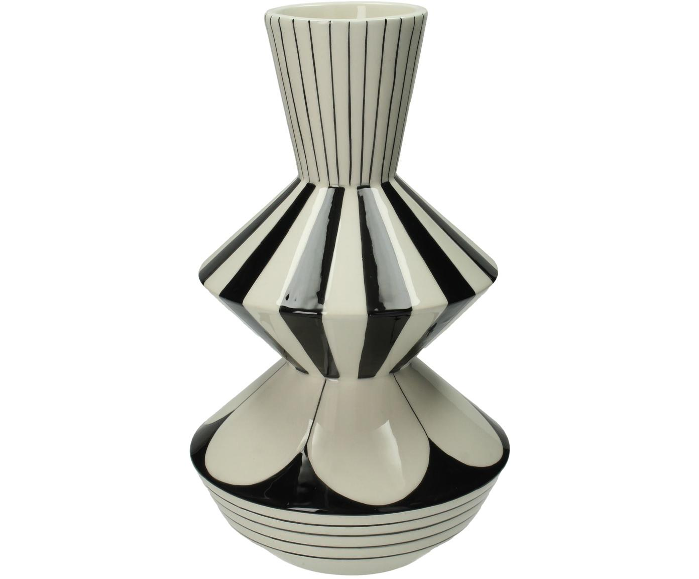 Vaso Graphic, Gres, Bianco, nero, Ø 17 x Alt. 29 cm