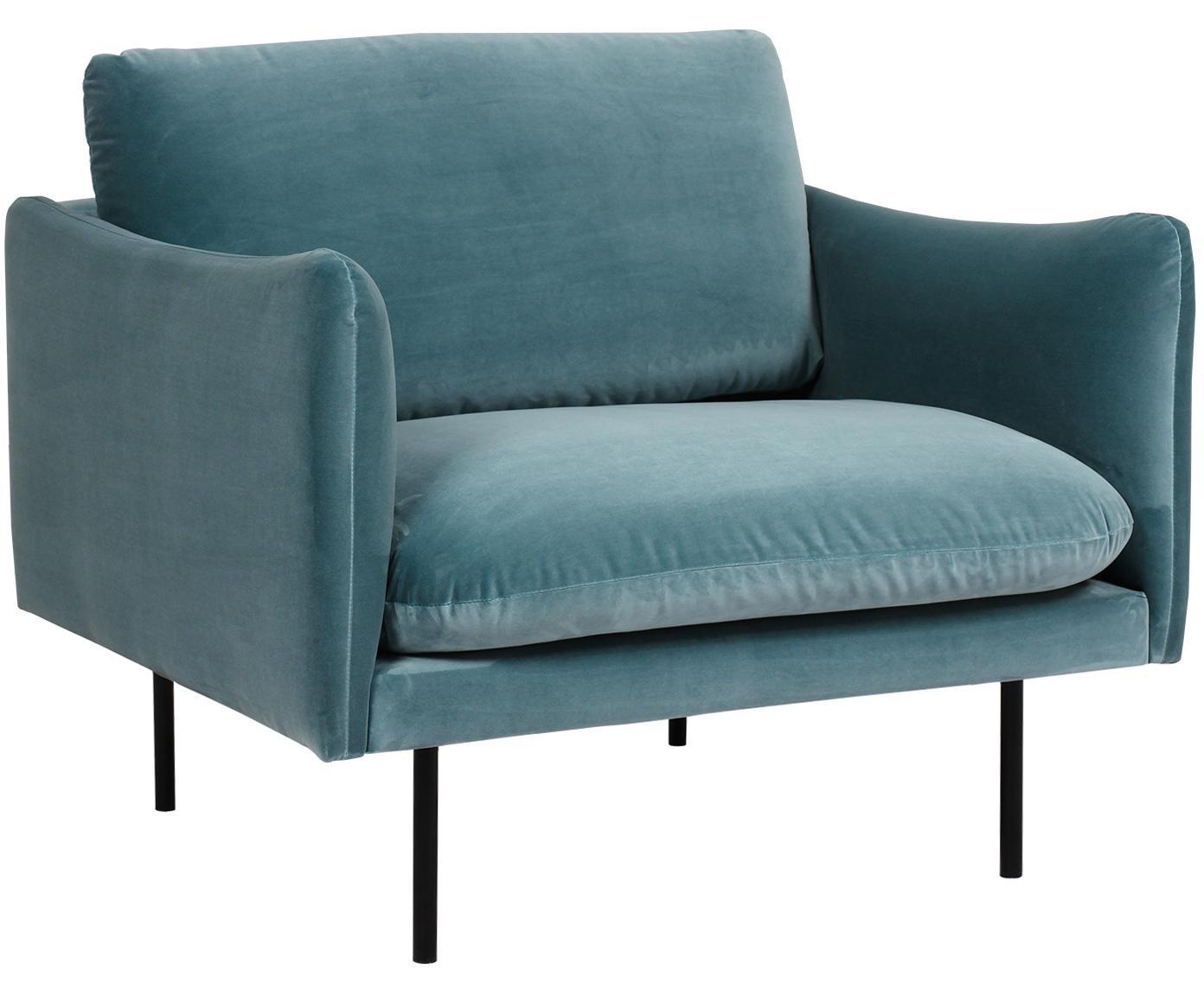 Samt-Sessel Moby, Bezug: Samt (Hochwertiger Polyes, Gestell: Massives Kiefernholz, Füße: Metall, pulverbeschichtet, Samt Türkis, B 90 x T 90 cm