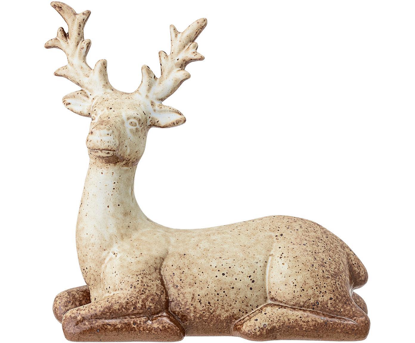 Handgefertigtes Deko-Objekt Deer, Steingut, Braun, Beige, 16 x 15 cm