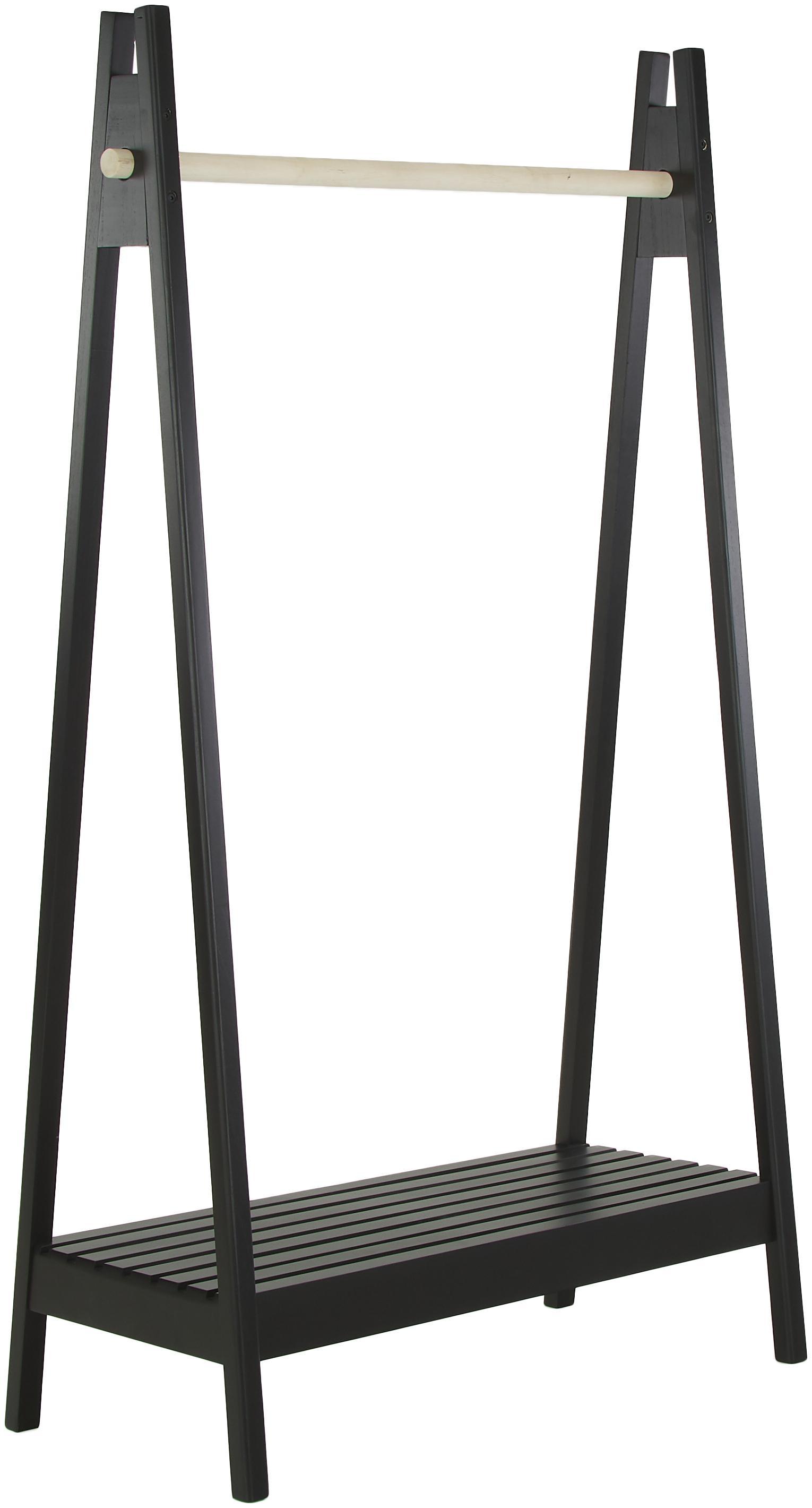 Wieszak stojący z drewna Torino, Drewno paulownia, płyta pilśniowa średniej gęstości (MDF), Czarny, biały, S 95 x G 39 cm