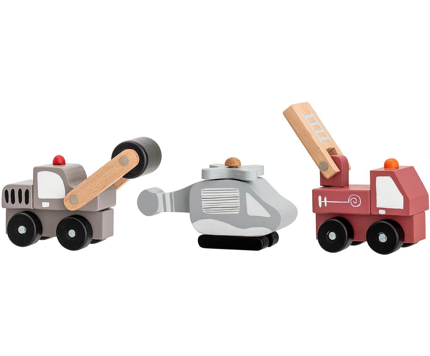 Spielzeugauto-Set Bruno, 3-tlg., Mitteldichte Holzfaserplatte (MDF), Schichtholz, Metall, Mehrfarbig, Verschiedene Grössen