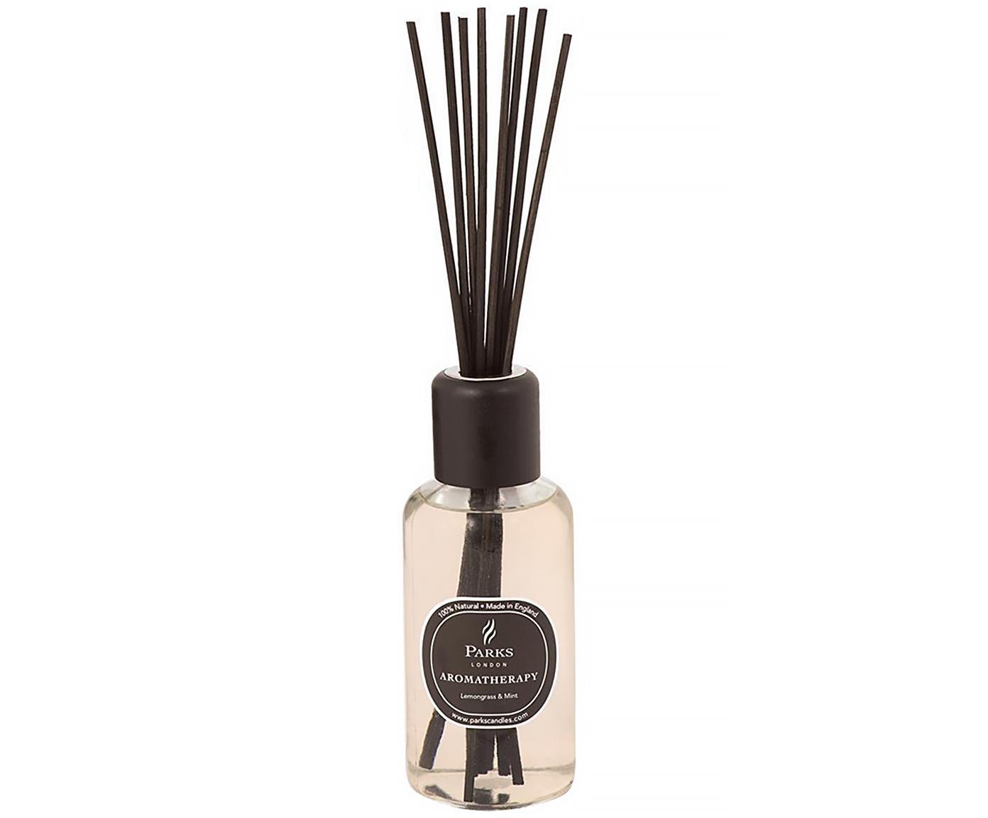 Diffuser Aromatherapy (citroengras & munt), Houder: glas, Sluiting: hout, Transparant, wit, zwart, Ø 6 x H 14 cm