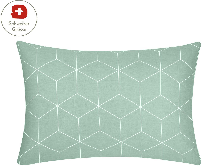 Baumwoll-Kissenbezug Lynn mit grafischem Muster, Webart: Renforcé Fadendichte 144 , Mint, Cremeweiss, 65 x 100 cm