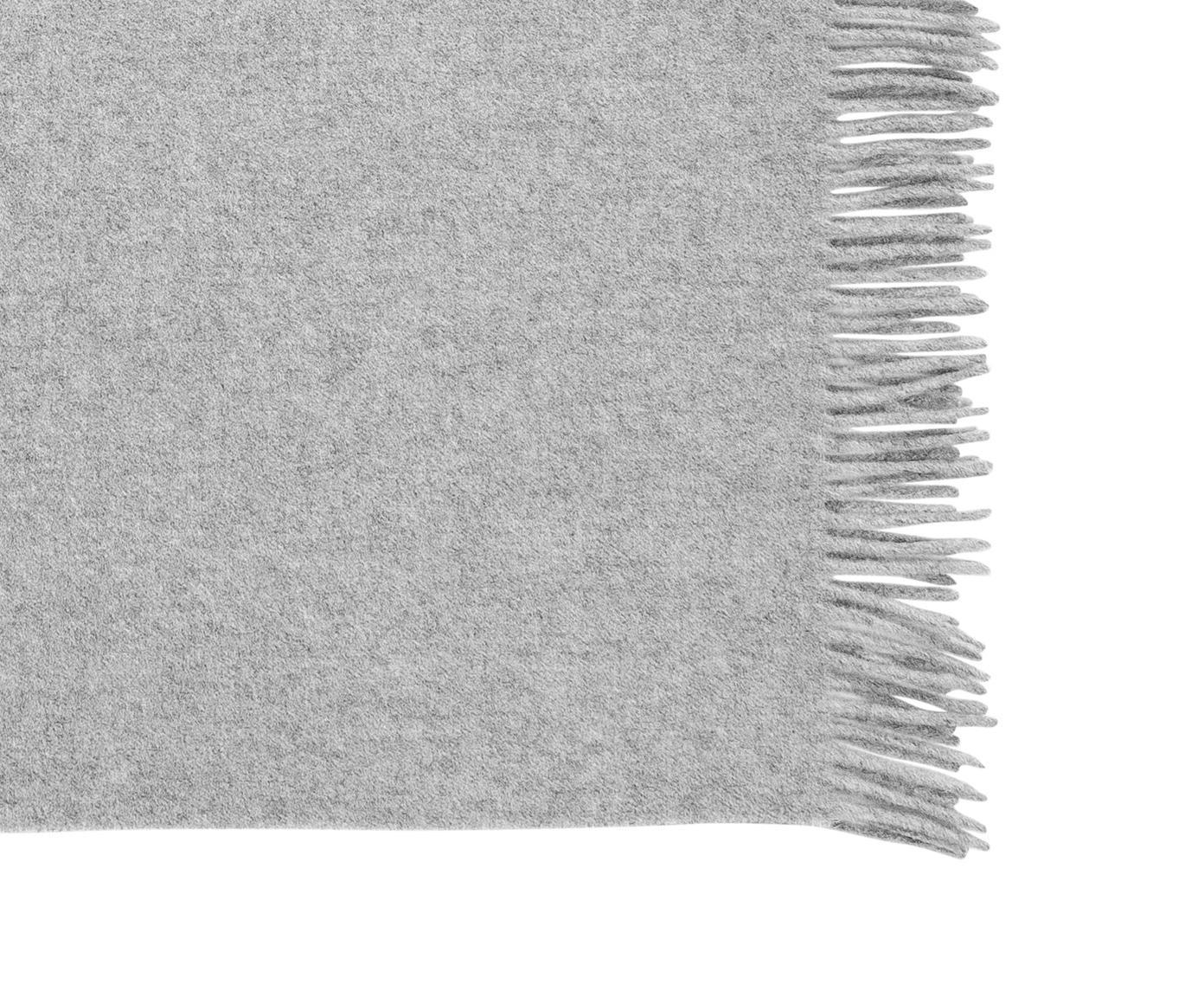 Plaid de lana Bella, gris - 130x170cm, 100% lana virgen, ligeramente áspera, Gris claro, An 130 x L 170 cm