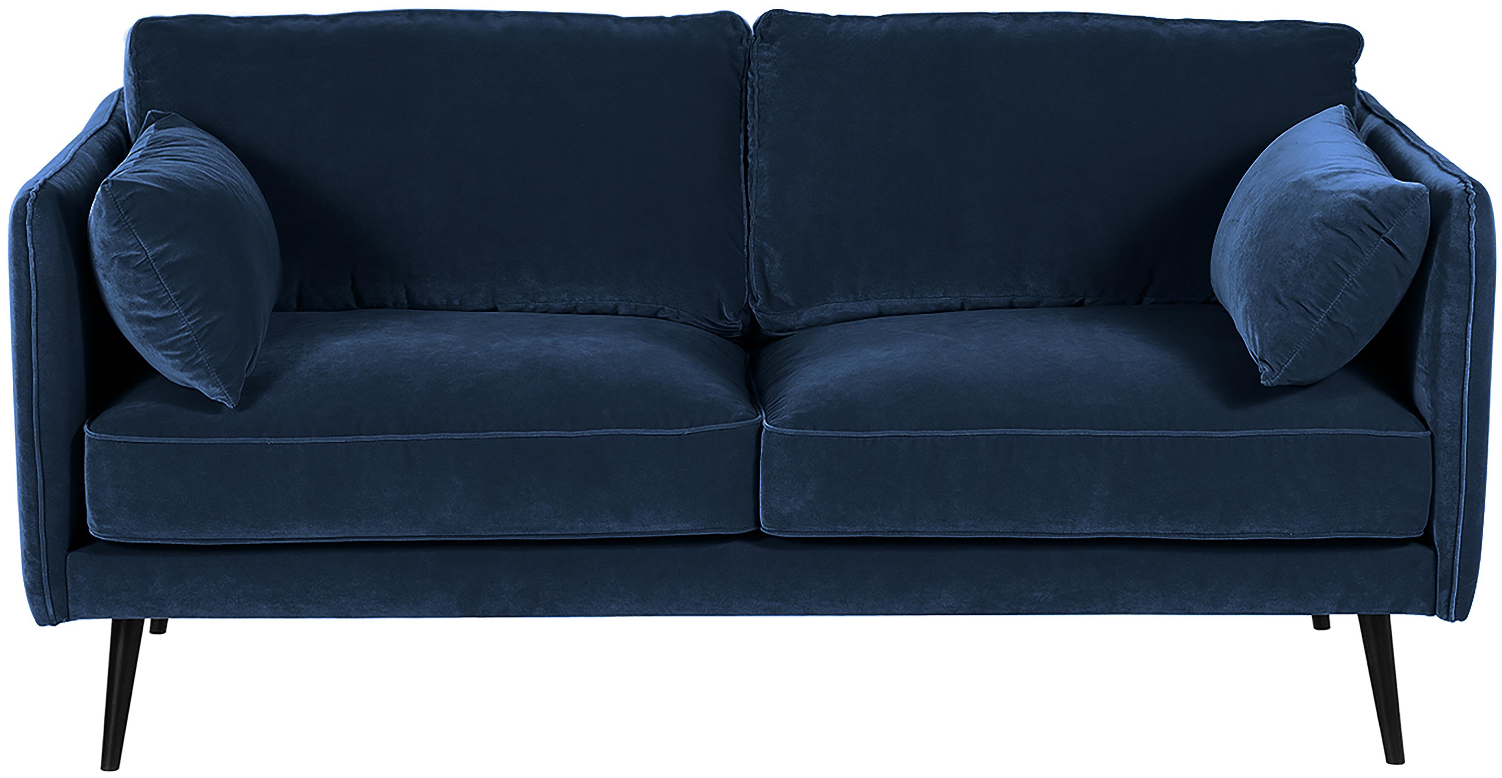 Fluwelen bank Paola (2-zits), Bekleding: fluweel (polyester), Frame: massief grenenhout, spaan, Poten: gelakt grenenhout Het FSC, Blauw, B 179 x D 95 cm