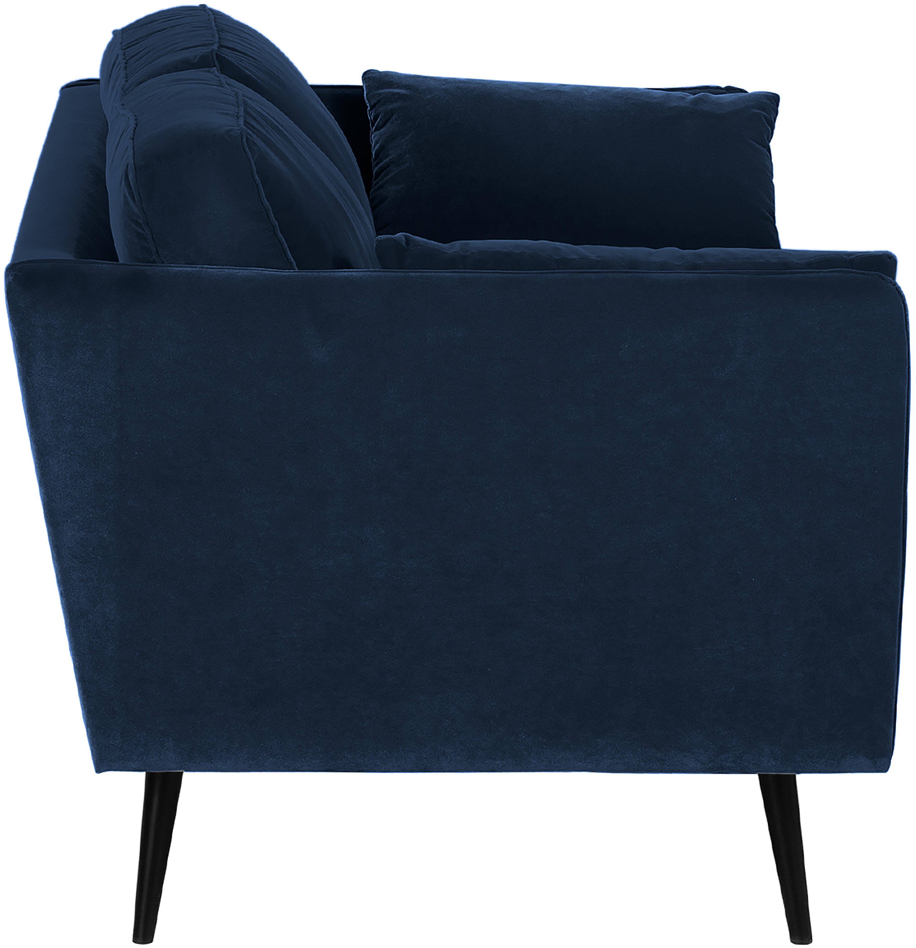 Samt-Sofa Paola (2-Sitzer), Bezug: Samt (Polyester) 70.000 S, Gestell: Massives Fichtenholz, Spa, Füße: Fichtenholz, lackiert, Samt Blau, B 179 x T 95 cm