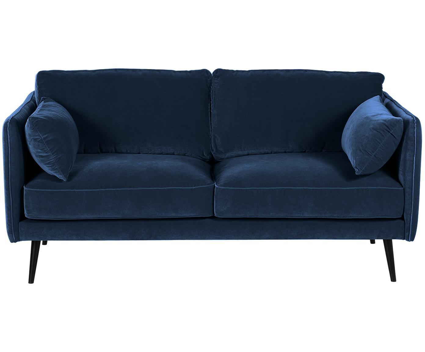 Sofá de terciopelo Paola (2plazas), Tapizado: terciopelo (poliéster) 70, Estructura: madera de abeto maciza, a, Patas: madera de abeto, pintada, Azul, An 179 x F 95 cm