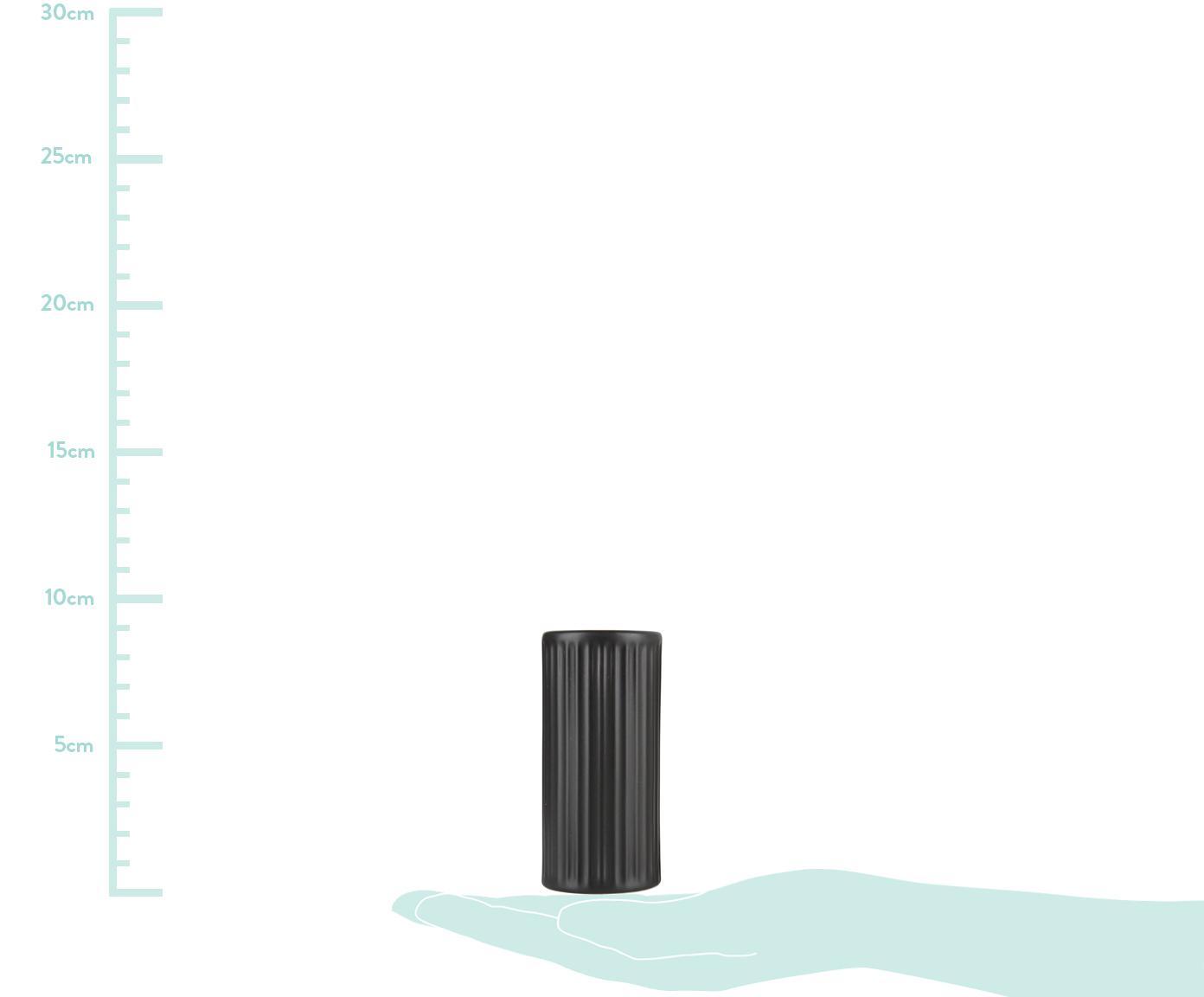 Schwarze Salz- und Pfefferstreuer Groove mit Rillenstruktur, 2er-Set, Steingut, Schwarz, Ø 5 x H 9 cm