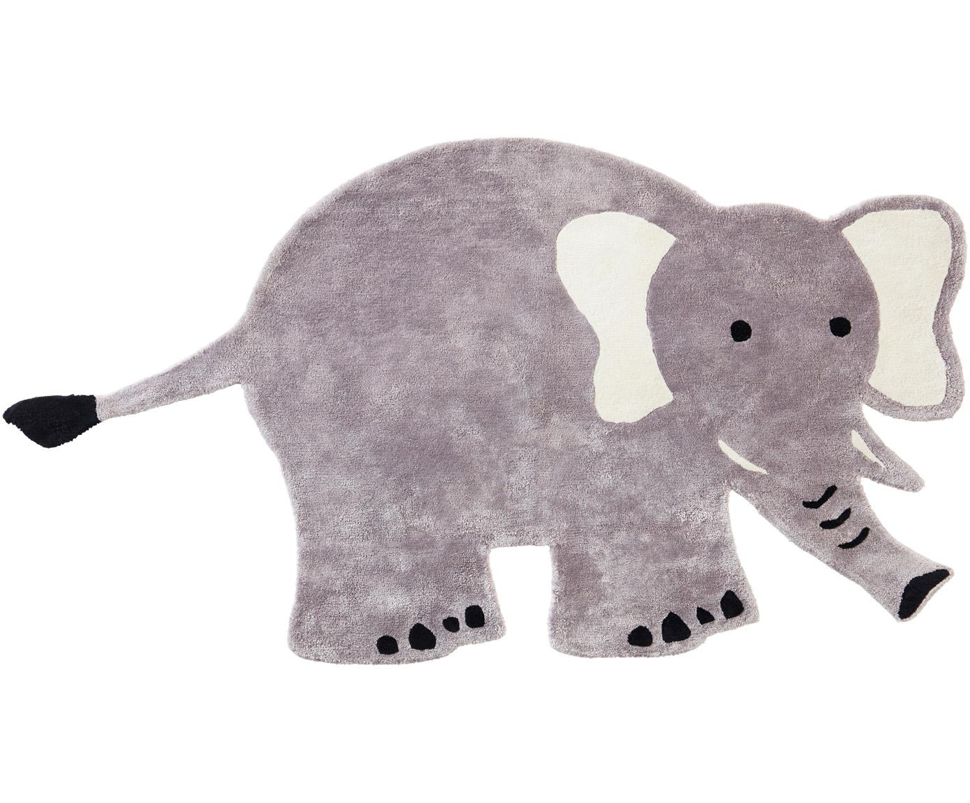 Viscose vloerkleed Ellie Elephant, 100% viscose, 4600 g/m², Grijs, zwart, wit, B 100 x L 180 cm (maat S)