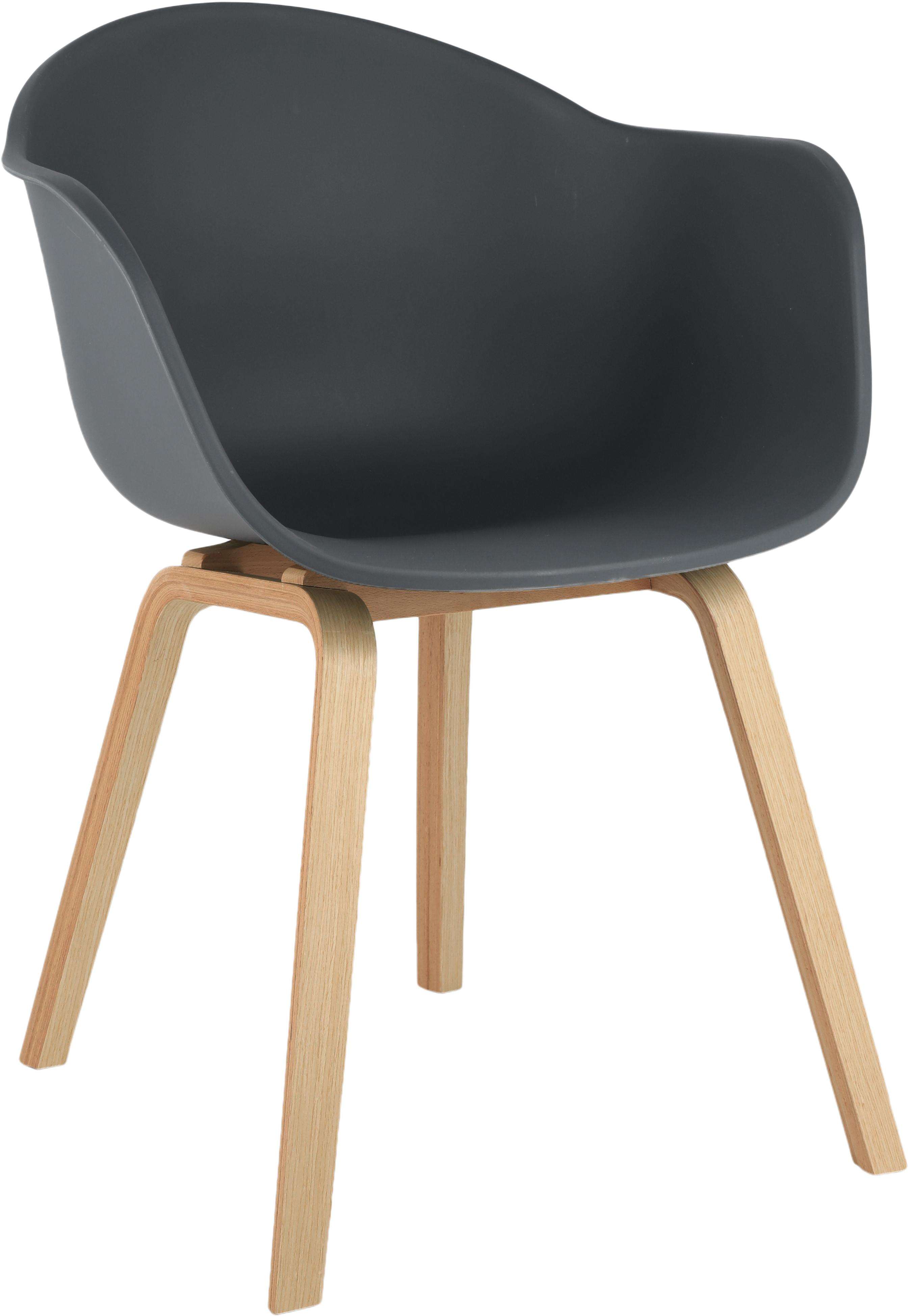 Kunststoff-Armlehnstuhl Claire mit Holzbeinen, Sitzschale: Kunststoff, Beine: Buchenholz, Kunststoff Grau, B 54 x T 60 cm