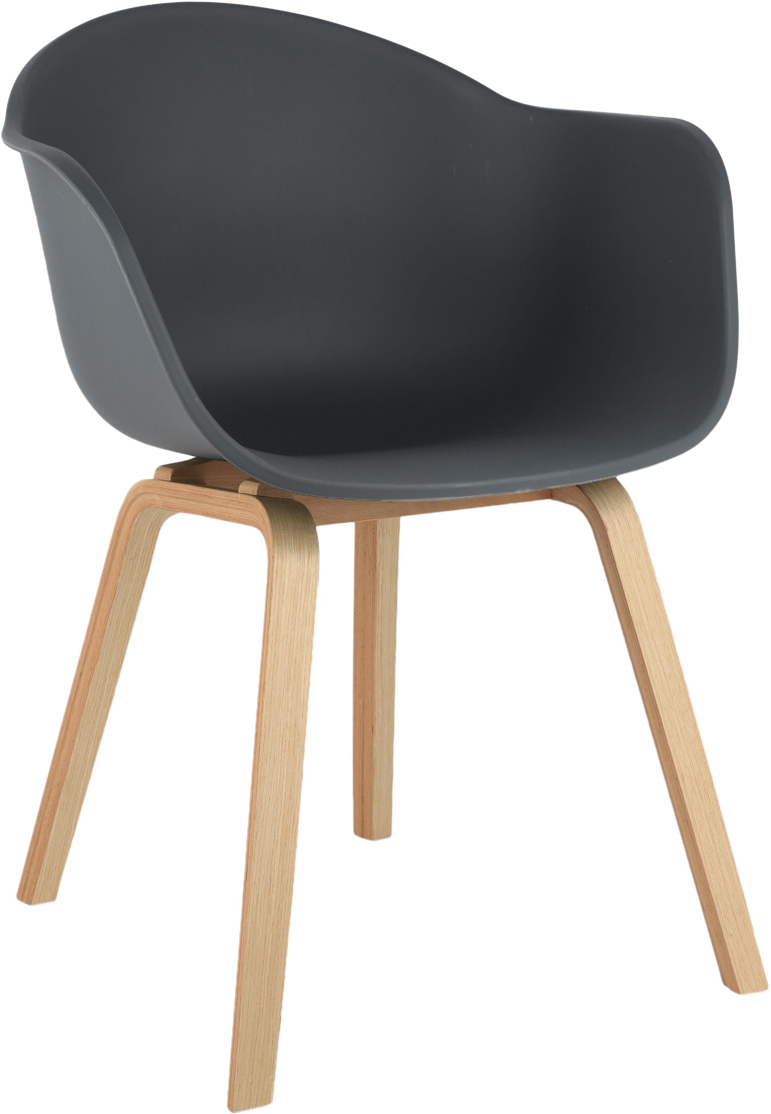 Sedia con braccioli e gambe in legno Claire, Seduta: materiale sintetico, Gambe: legno di faggio, Seduta: grigio scuro Gambe: legno di faggio, Larg. 54 x Prof. 60 cm