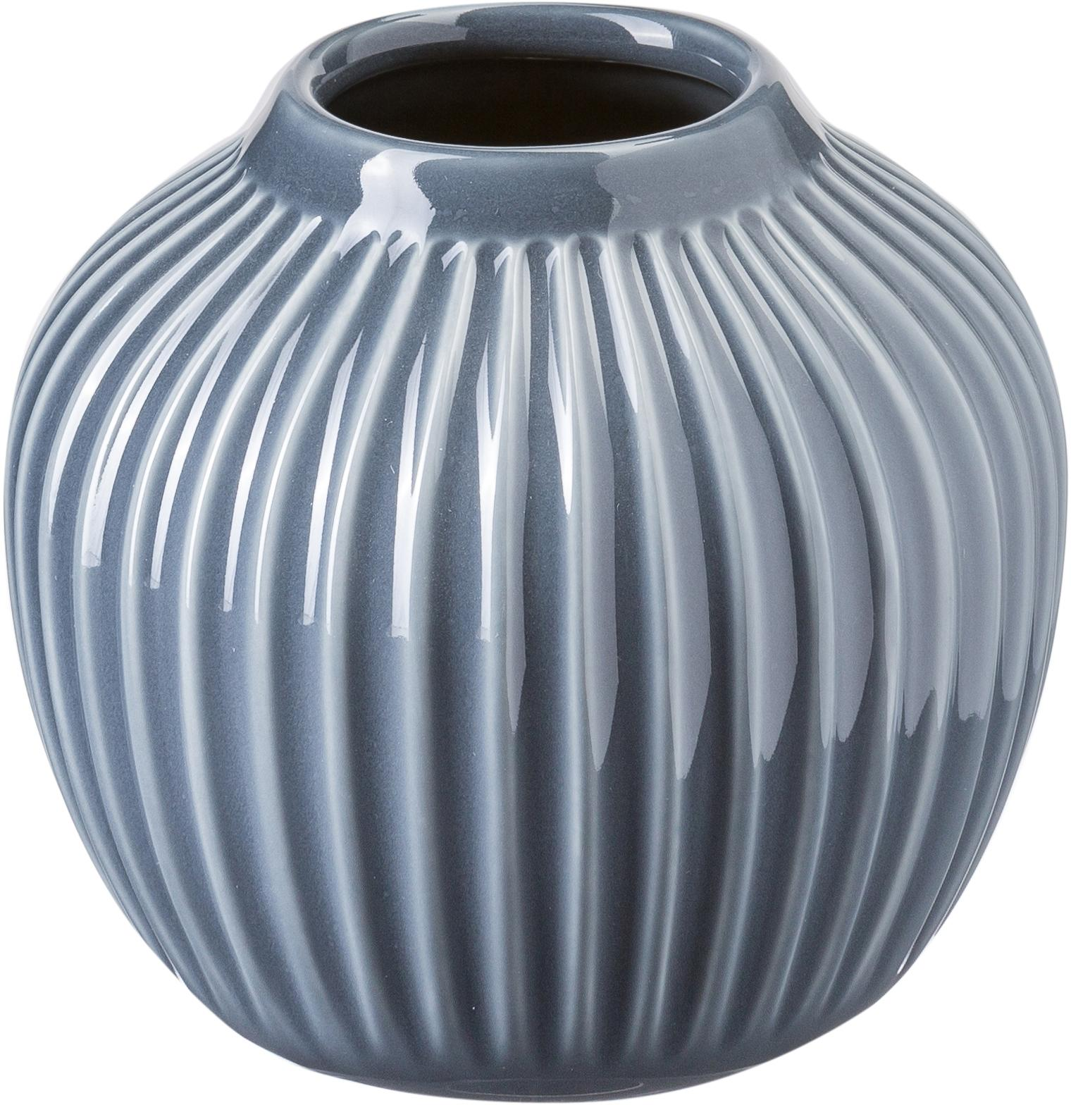 Vaso di design fatto a mano Hammershøi, Porcellana, Antracite, Ø 14 x Alt.13 cm