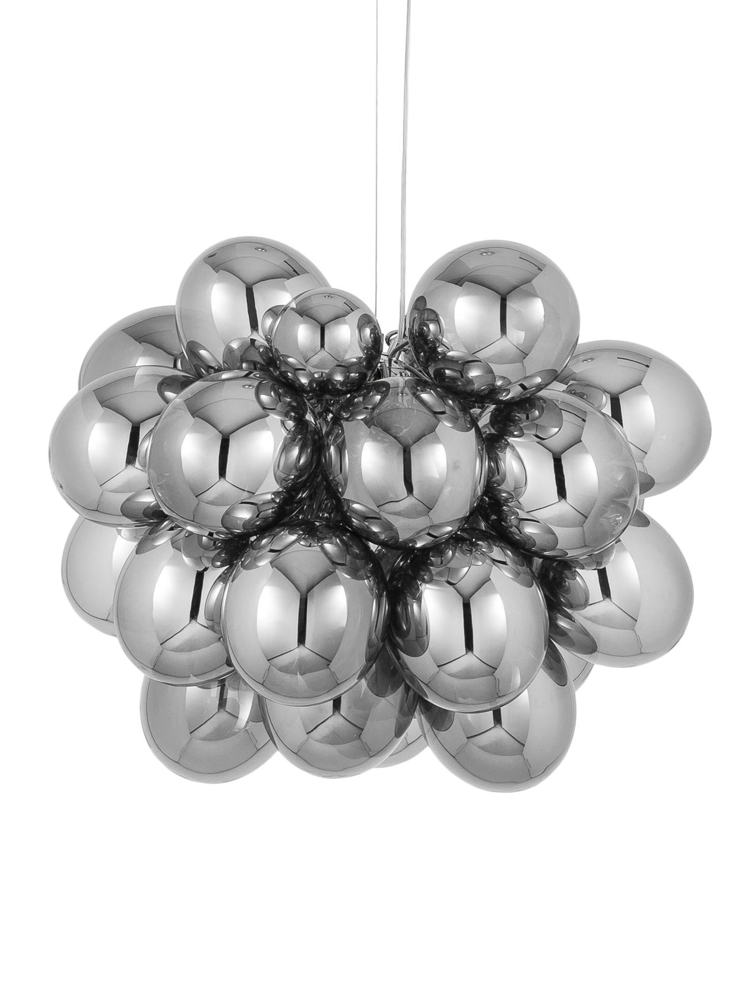 Glaskugel-Pendelleuchte Gross Grande, Chrom, Ø 62 x H 50 cm