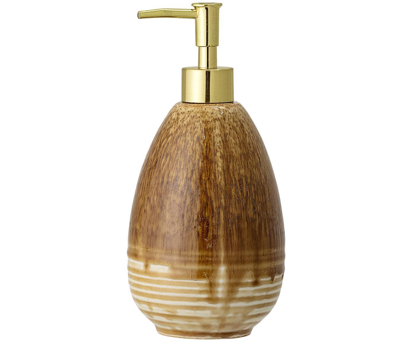 Dosificador de jabón Stenia, Recipiente: gres, Dosificador: plástico, Tonos marrones, dorado, Ø 10 x Al 21 cm