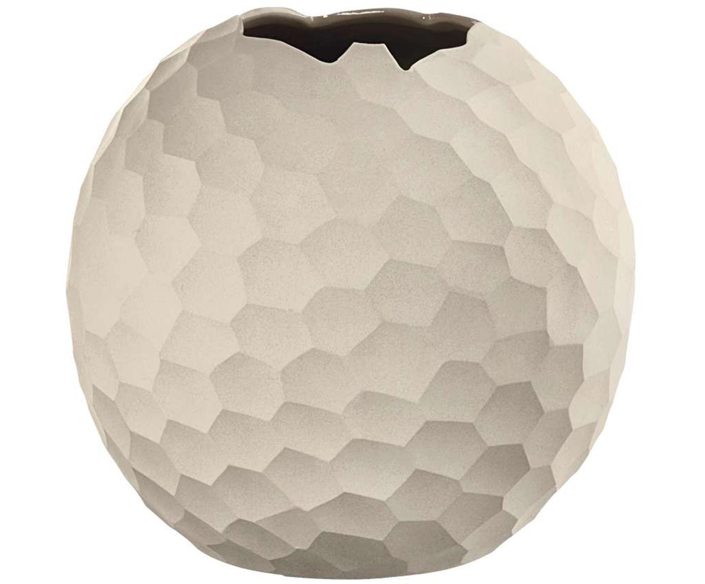 Handgemaakte vaas Carve, Keramiek, Lampenkap: grijs. Lampvoet: grijs. Snoer: wit, Ø 21 x H 20 cm