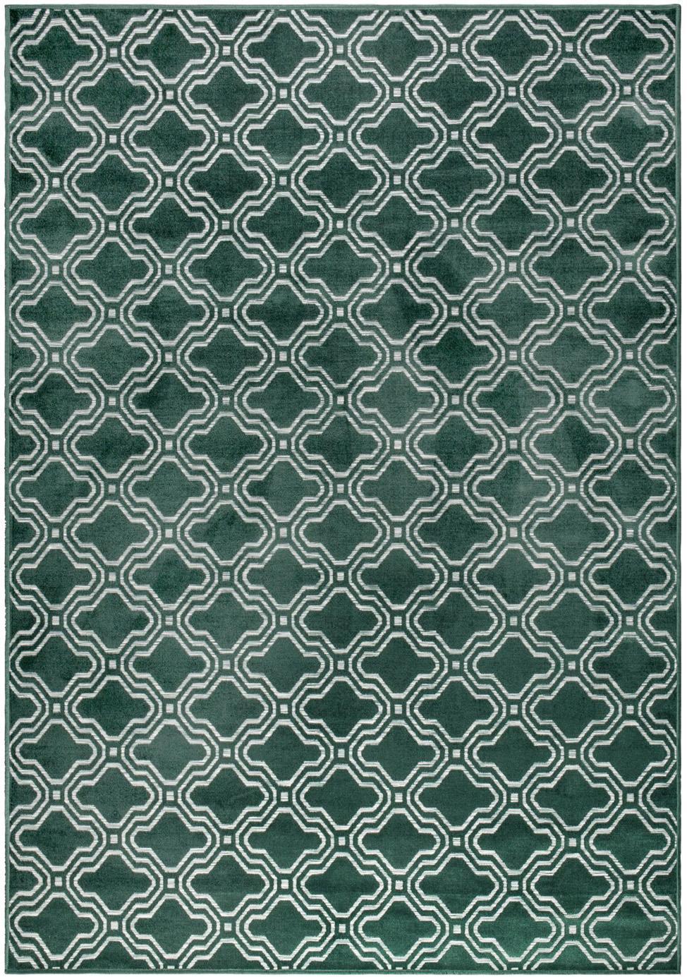 Vloerkleed Feike met hoog-diep effect in donkergroen, Bovenzijde: 52%viscose, 36%katoen, , Onderzijde: synthetisch rubber, Groen, 160 x 230 cm