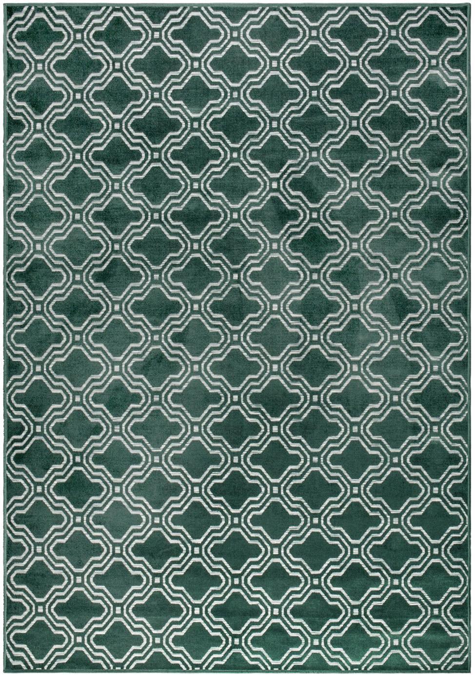 Tappeto con effetto a rilievo Feike, Vello: 52% viscosa, 36% cotone, , Retro: retro in gomma sintetica, Verde, Larg. 160 x Lung. 230 cm