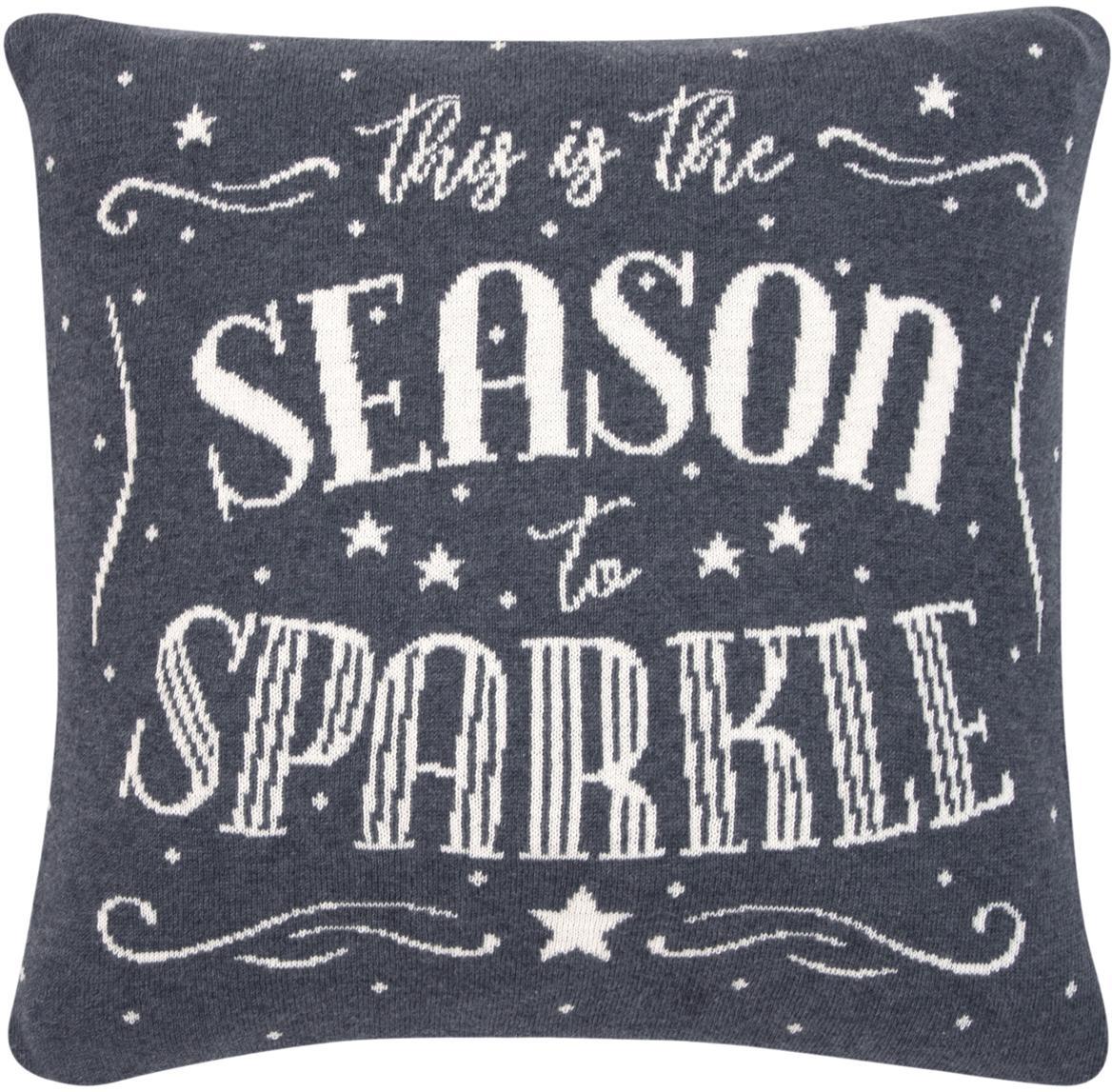 Federa arredo natalizia con scritta Sparkle, Cotone, Grigio, crema, Larg. 40 x Lung. 40 cm