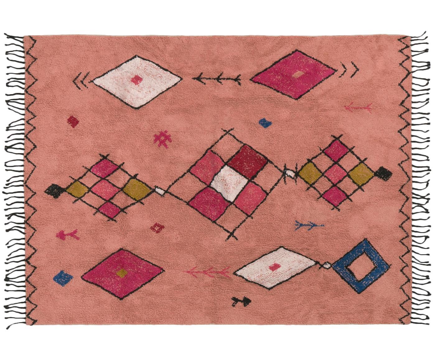 Handgetufteter Teppich Bereber, 100% Baumwolle, Korallenrot, Mehrfarbig, B 150 x L 200 cm (Grösse S)