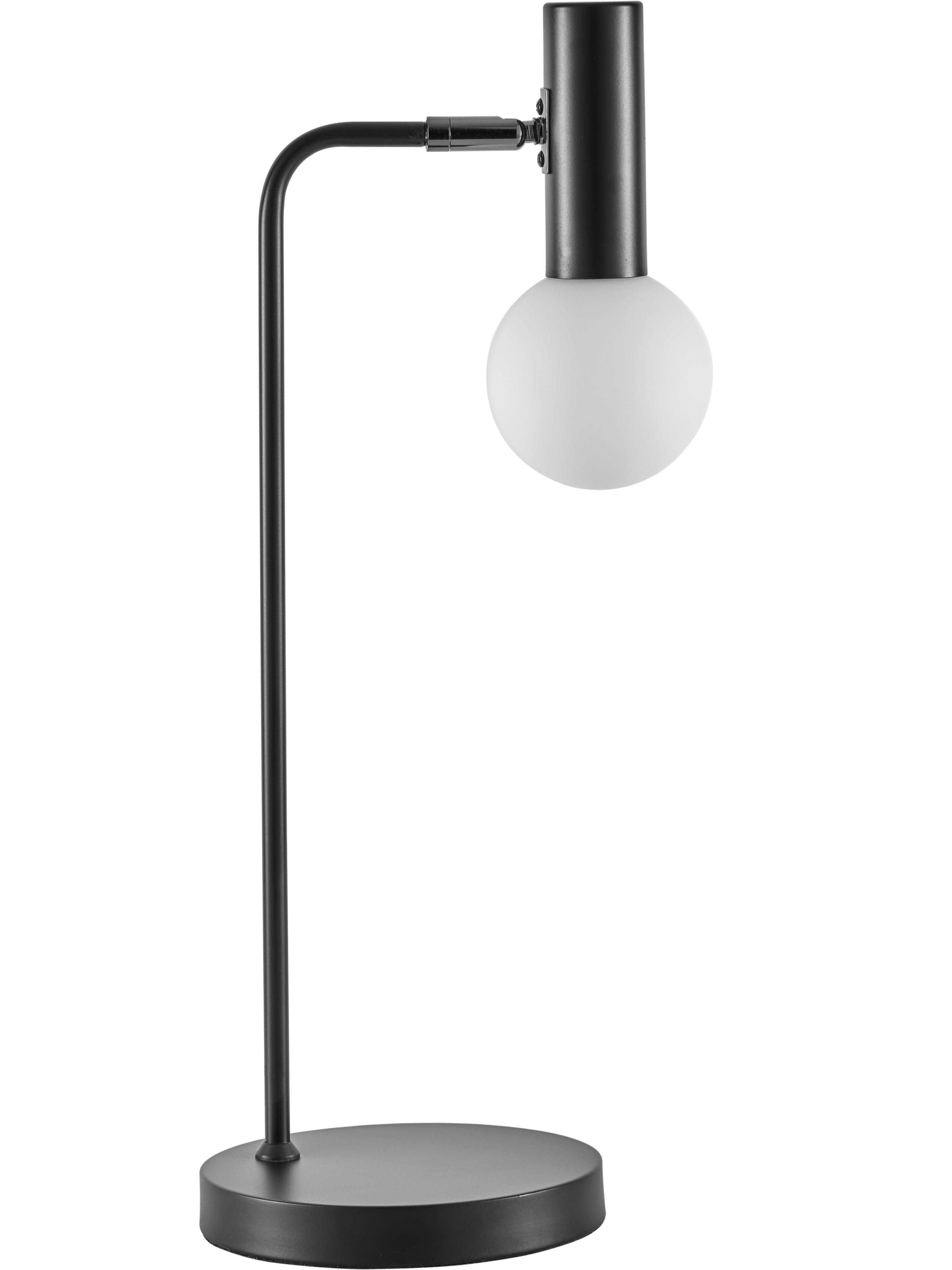 Große Schreibtischlampe Wilson mit Glasschirm, Lampenfuß: Metall, pulverbeschichtet, Lampenschirm: Glas, Schwarz, Ø 10 x H 53 cm