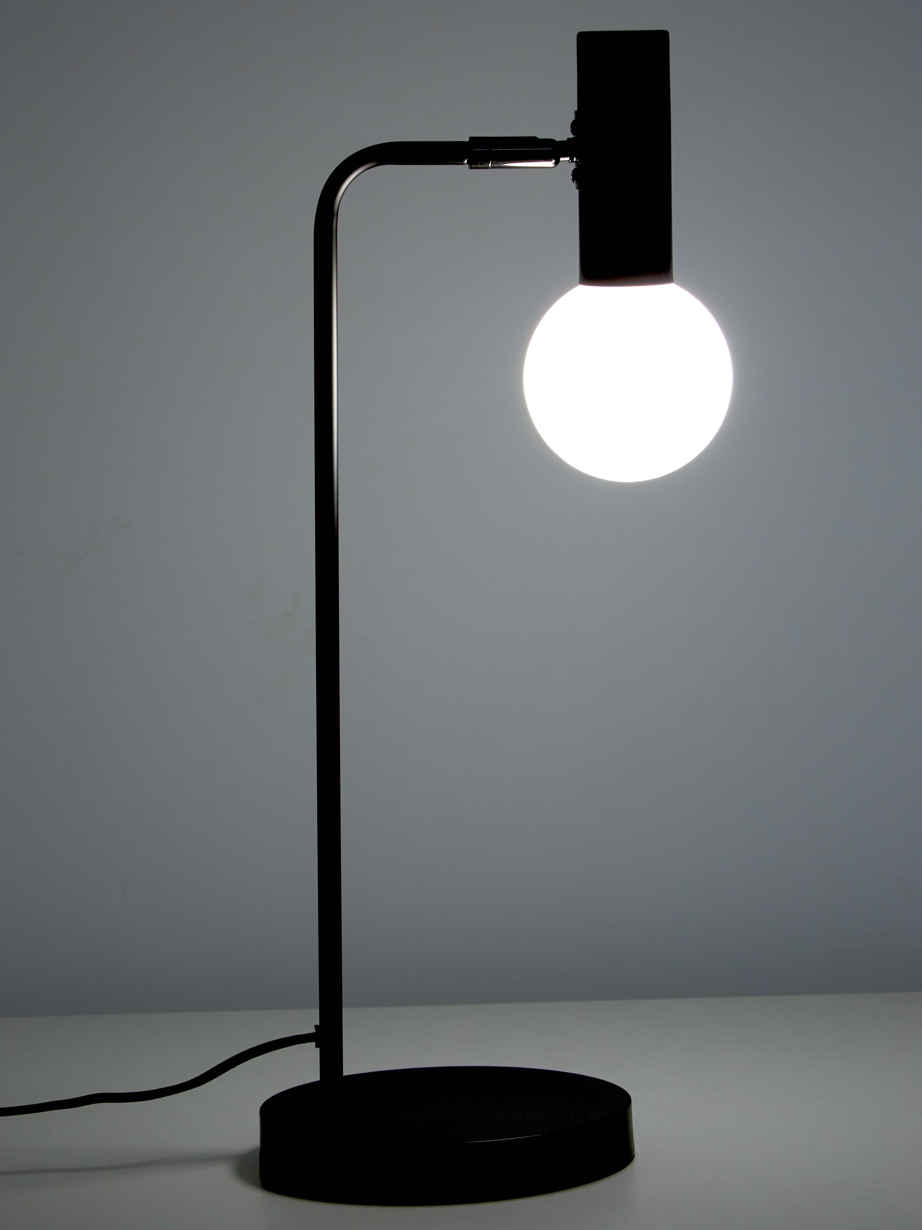 Lampada da scrivania Wilson, Base della lampada: metallo verniciato a polv, Paralume: vetro, Nero, Larg. 22 x Alt. 54 cm