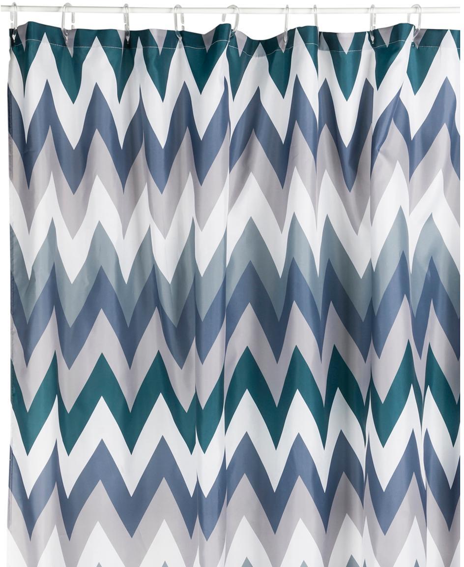 Duschvorhang Hanneke mit Zickzack-Muster, 100% Polyester, digital bedruckt Wasserabweisend, nicht wasserdicht, Blau, Grau, Weiß, Grün, 180 x 200 cm