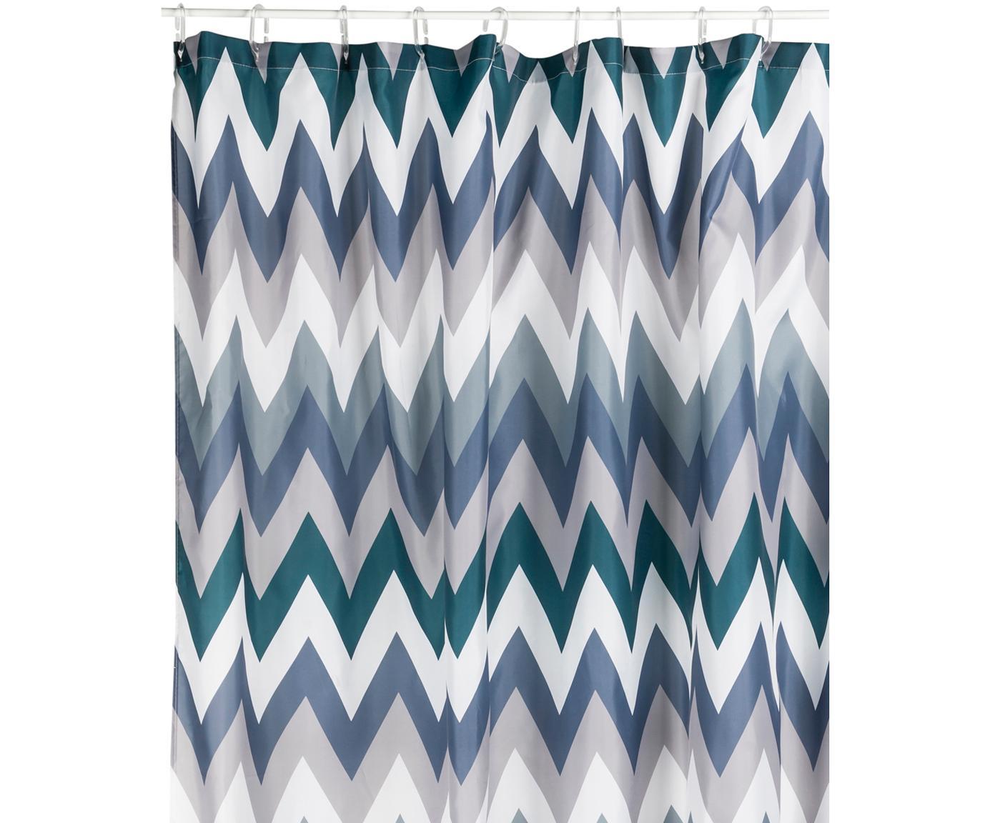 Douchegordijn Hanneke met zigzag patroon, Polyester, Blauw, grijs, wit, groen, 180 x 200 cm