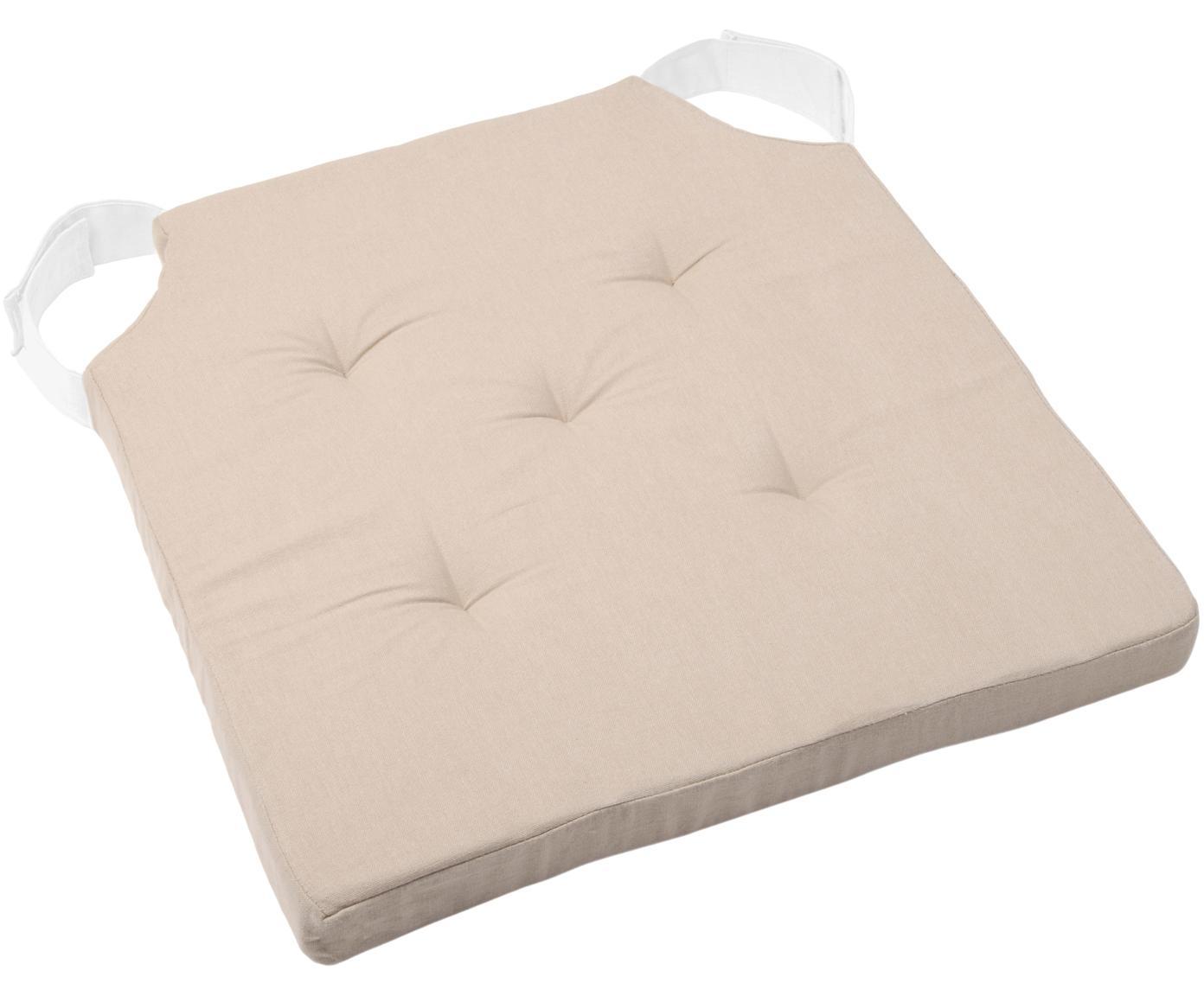 Sitzkissen Duo, Bezug: Baumwolle, Beige, 40 x 40 cm