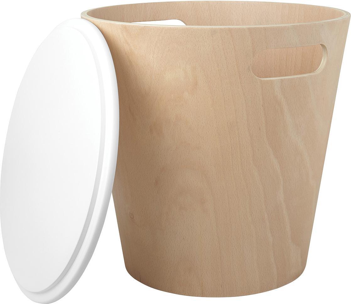 Hocker / Beistelltisch Woodrow mit Stauraum, Holz, lackiert, Braun, Weiss, Ø 41 x H 42 cm