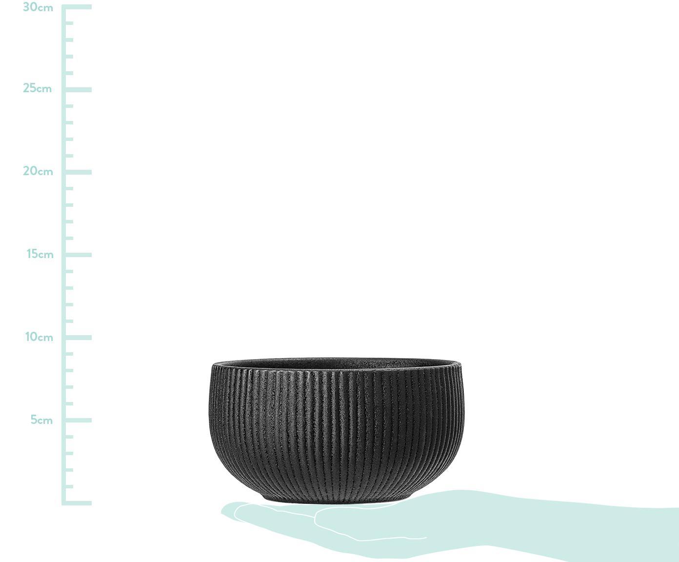 Schälchen Neri mit Rillenstruktur in Schwarz matt, 2 Stück, Steingut Mit Rillenstruktur und leicht rauer Oberfläche, Schwarz, Ø 15 x H 8 cm