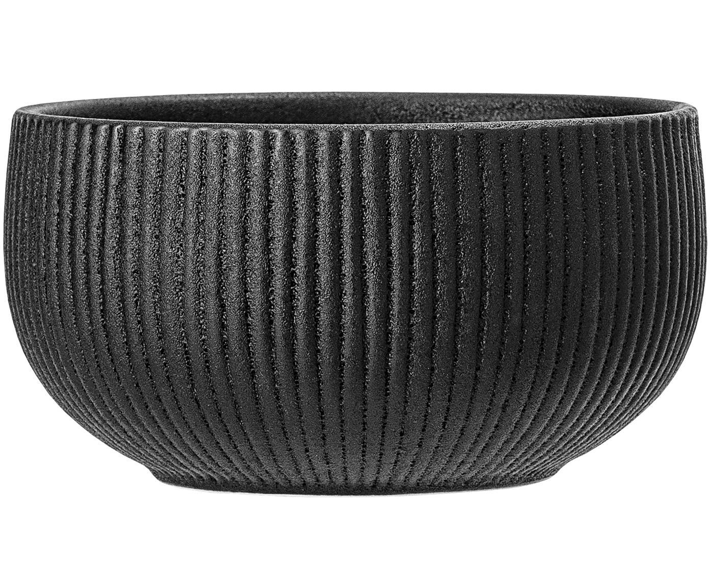 Cuencos con relieves Neri, 2uds., Gres Con estructura de surcos y superficie ligeramente rugosa, Negro, Ø 15 x Al 8 cm