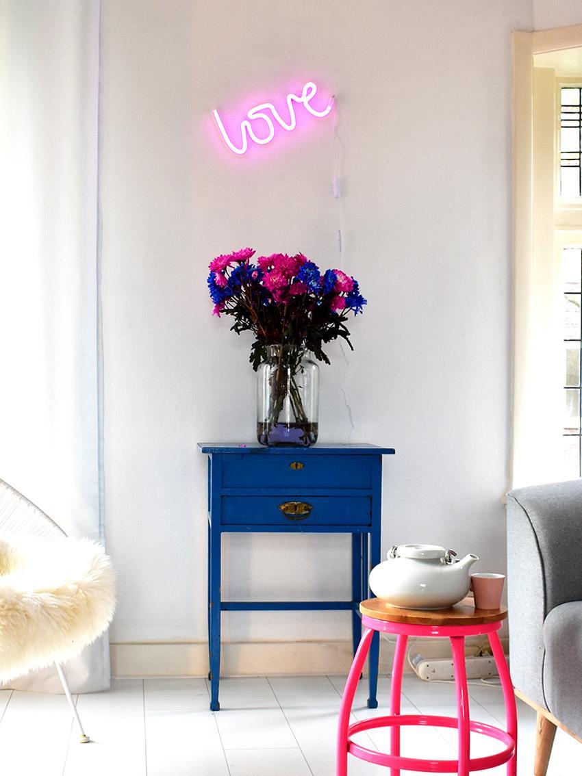 LED Wandleuchte Love, Leuchte: BPA-freier Kunststoff (PV, Lichtfarbe: Pink<br>Im ausgeschaltenen Zustand ist die LED-Leuchte Weiß, 38 x 16 cm