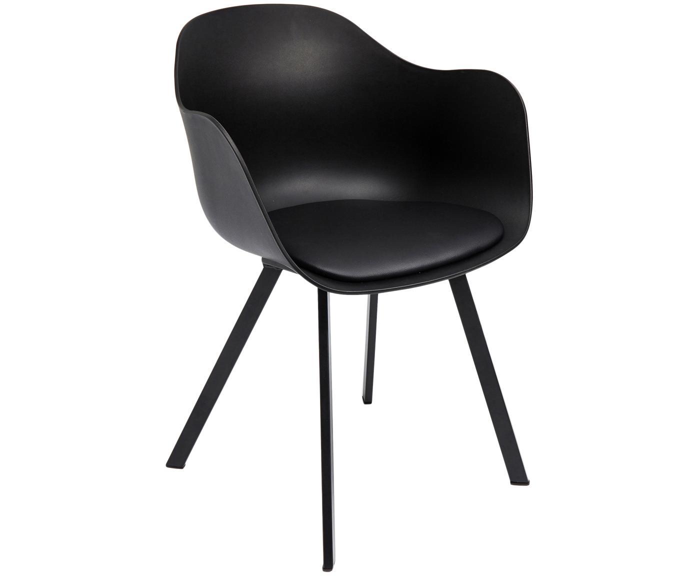 Krzesło z podłokietnikami Brentwood, 2 szt., Tapicerka: sztuczna skóra (poliureta, Nogi: metal malowany proszkowo, Czarny, S 58 x G 53 cm