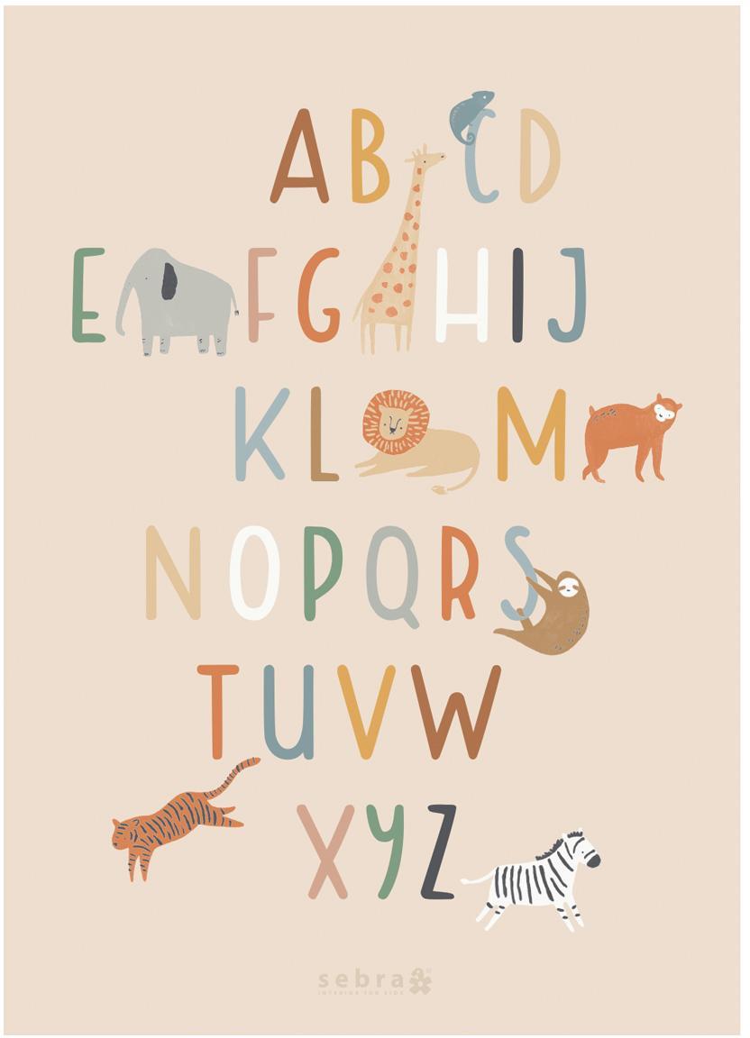 Plakat Wildlife Letters, Papier artystyczny, 250 g / m², Wielobarwny, S 50 x W 70 cm