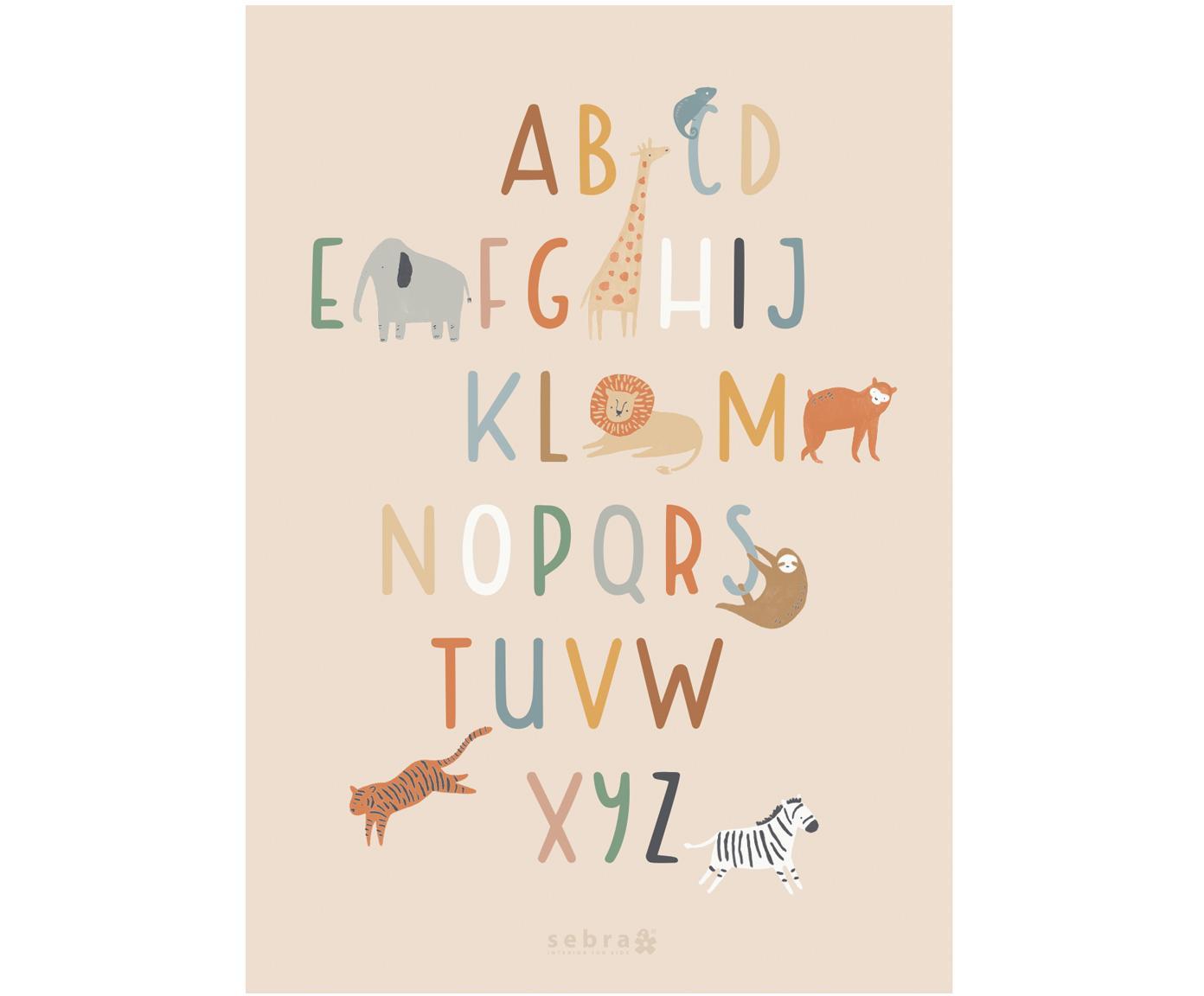 Poster Wildlife Letters, Kunstpapier, 250g/m², Multicolour, 50 x 70 cm