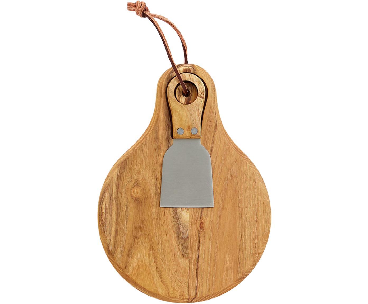 Set da formaggio Novara 2 pz, Coltello: legno di teak, acciaio in, Legno di teak, acciaio inossidabile, Larg. 22 x Prof. 16 cm