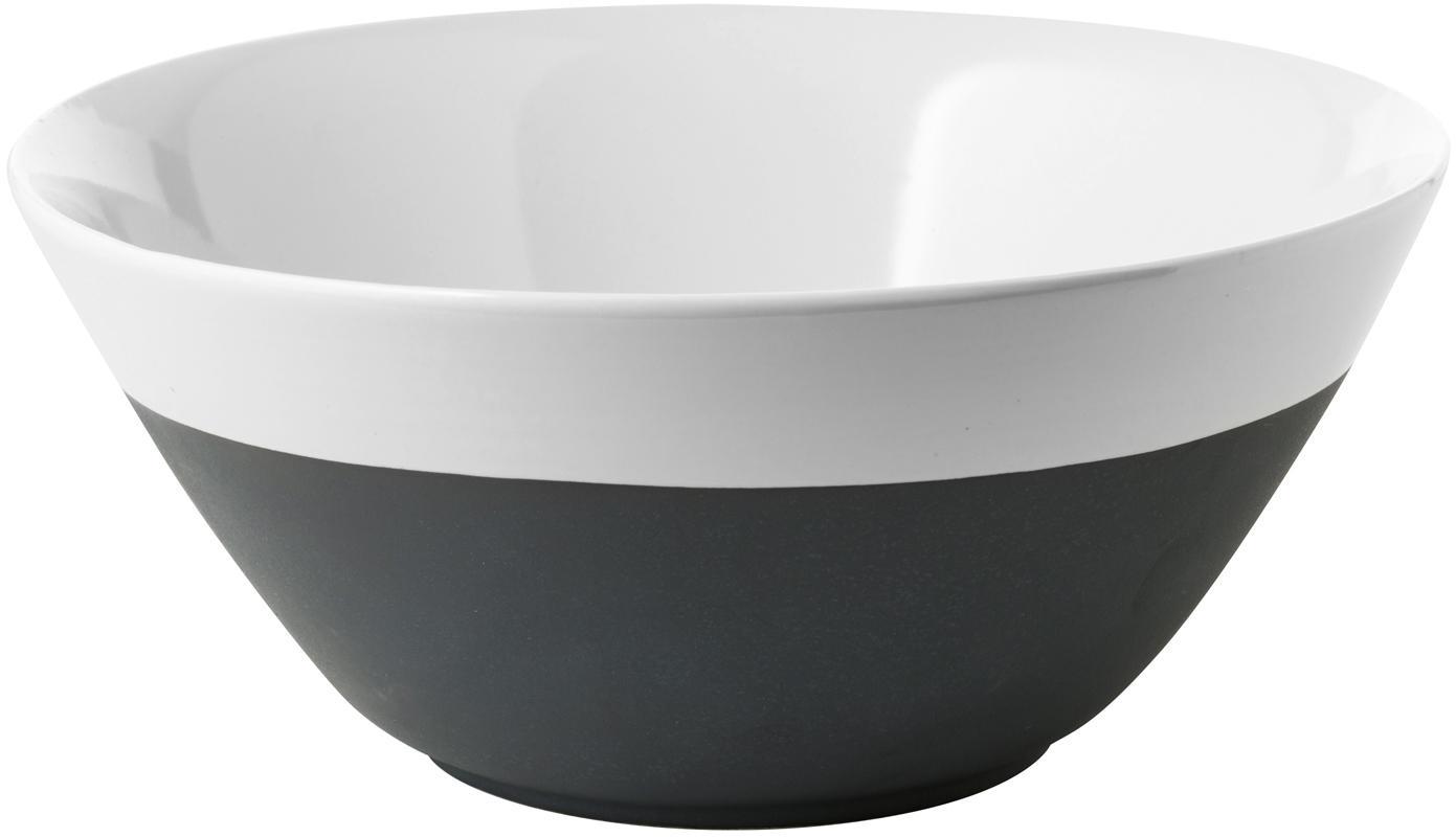 Handgemachte Schüssel Esrum matt/glänzend, Unten: Steingut, naturbelassen, Elfenbeinfarben, Graubraun, Ø 25 x H 11 cm