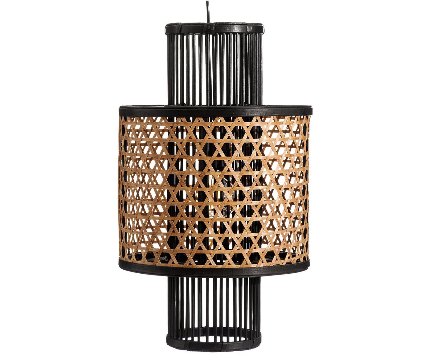 Pendelleuchte Susu aus Bambus, Lampenschirm: Bambus, Baldachin: Metall, beschichtet, Beige, Schwarz, Ø 36 x T 36 cm