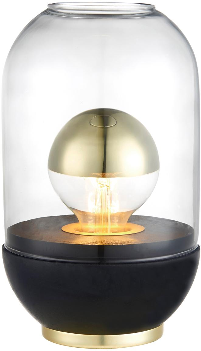 Kleine Tischlampe Pillola mit Holzfuss, Lampenschirm: Glas, Sockel: Metall, Transparent, Schwarz, Ø 14 x H 24 cm