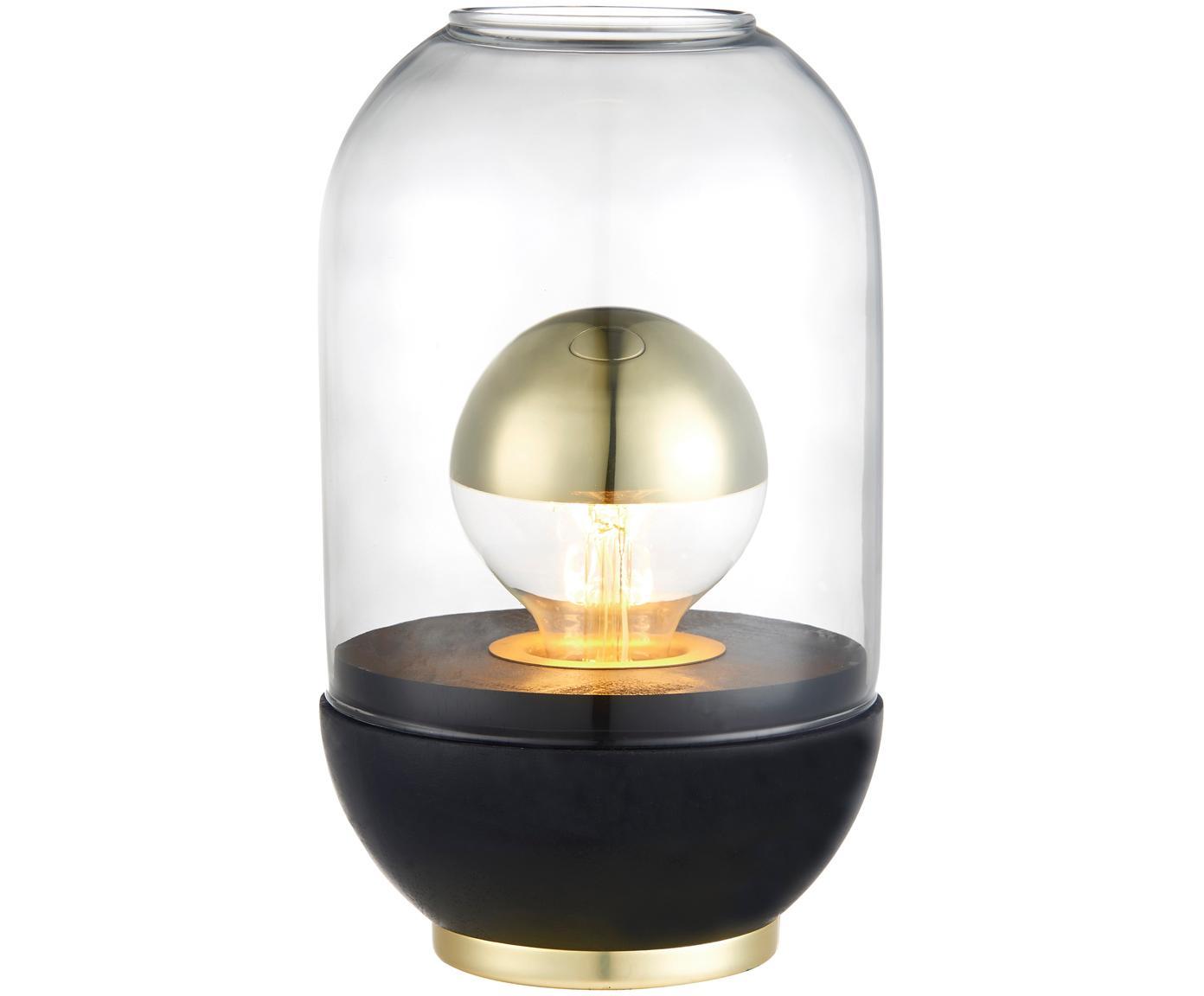 Kleine tafellamp Pillola, Lampenkap: glas, Lampvoet: gelakt hout, Voetstuk: metaal, Transparant, zwart, Ø 14 x H 24 cm