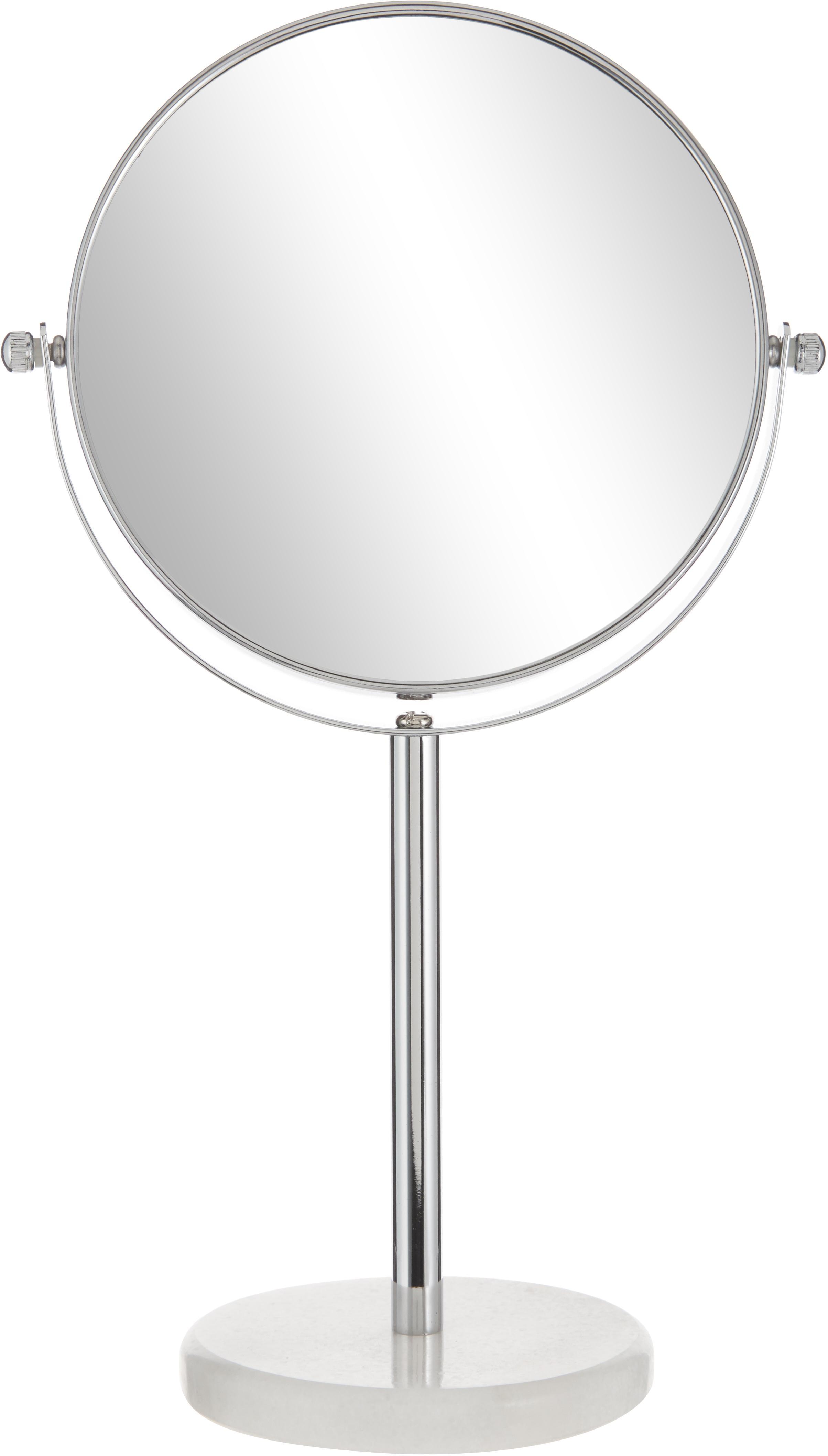 Kosmetikspiegel Copper mit Vergrößerung, Rahmen: Metall, verchromt, Spiegelfläche: Spiegelglas, Weiß, Silberfarben, Ø 20 x H 34 cm