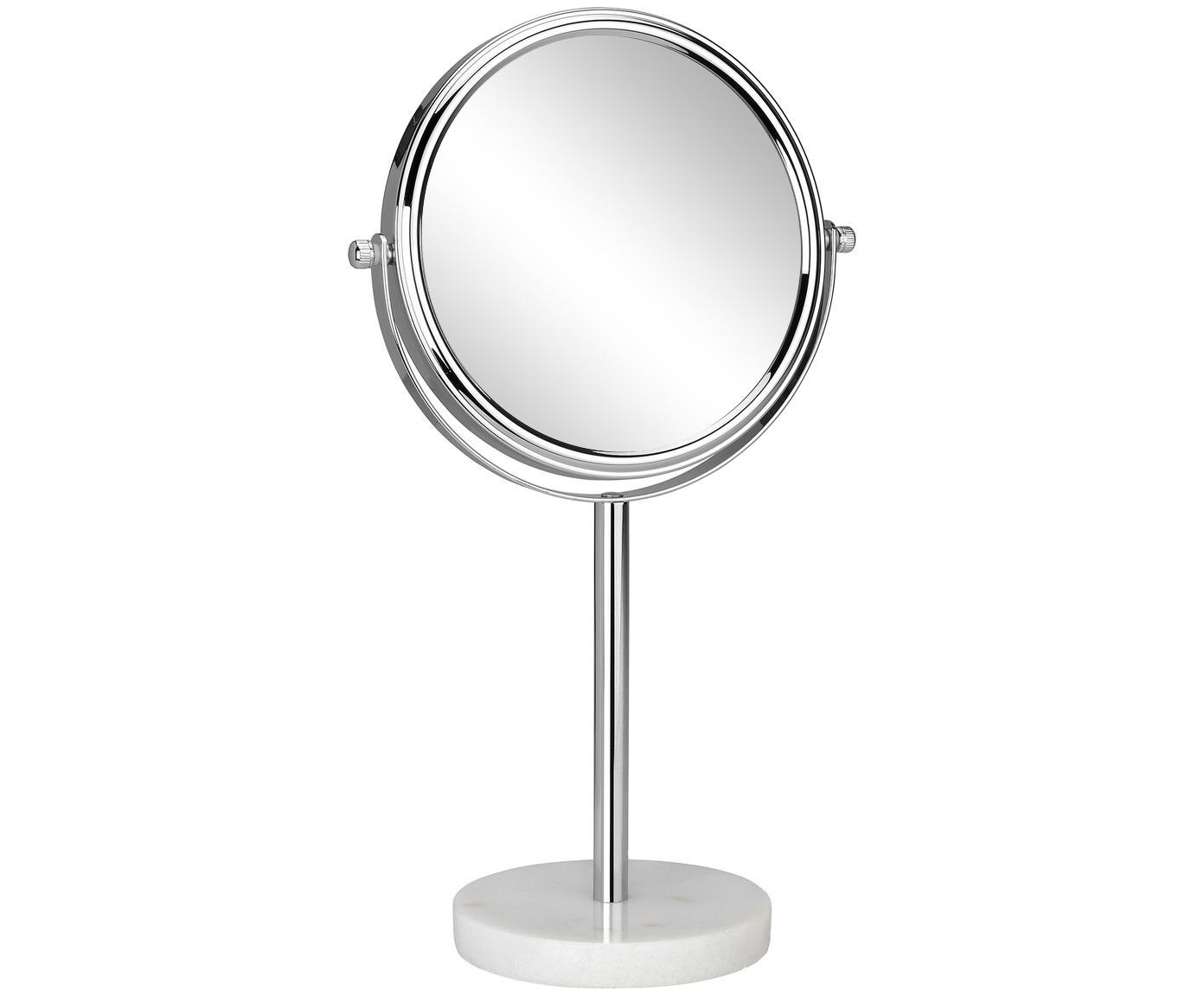 Specchio cosmetico con ingrandimento Copper, Gambo: marmo, Cornice: metallo cromato, Superficie dello specchio: lastra di vetro, Bianco, argento, Ø 20 x Alt. 34 cm