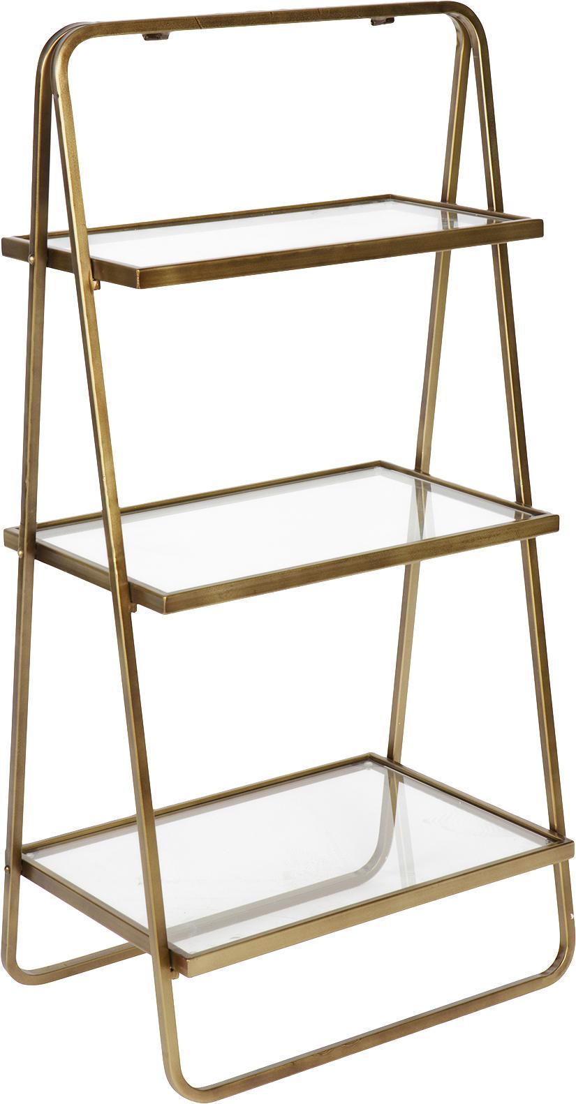 Libreria a scala in design vintage Goddess, Struttura: metallo ottonato, Ripiani: vetro, Ottone finitura antica, Larg. 58 x Alt. 106 cm