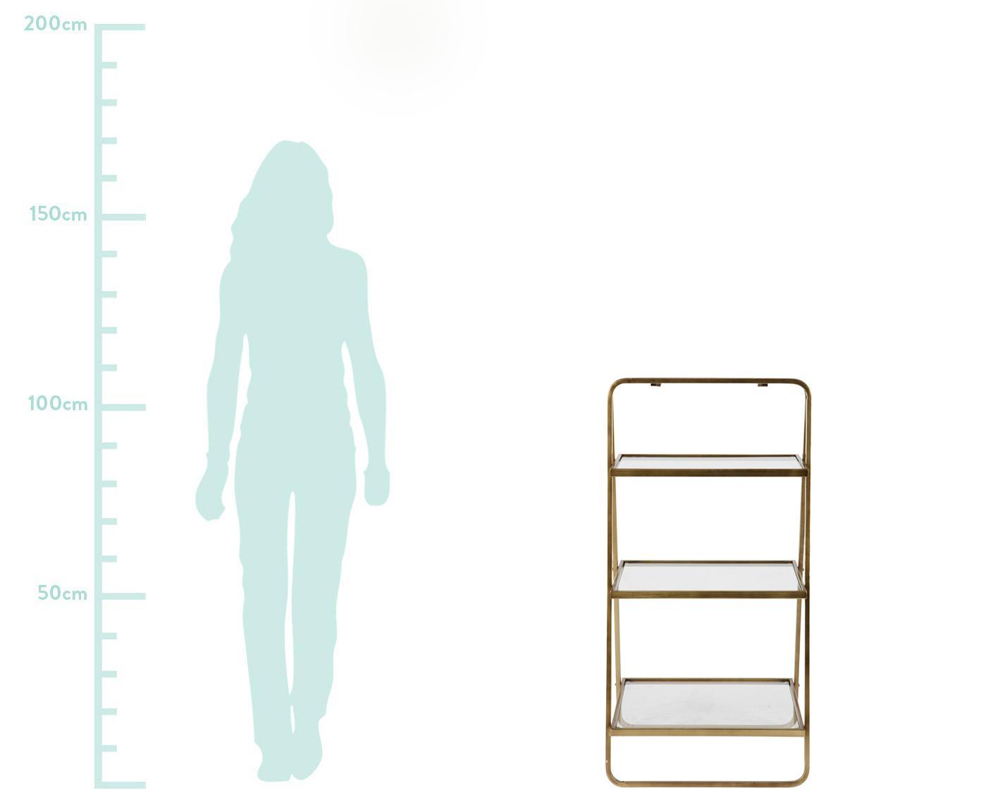 Regał drabinkowy z antycznym wykończeniem Goddess, Stelaż: metal, mosiądz, Mosiądz, antyczne wykończenie, S 58 x W 106 cm