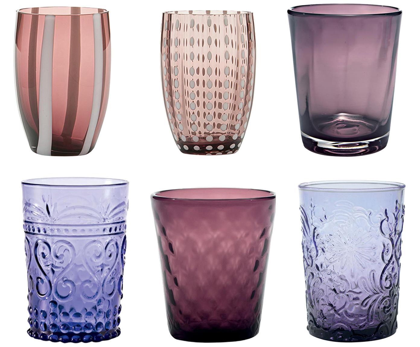Bicchiere acqua in vetro soffiato Pot Berry, set di 6, Vetro, Tonalità blu, tonalità rosse, Diverse dimensioni