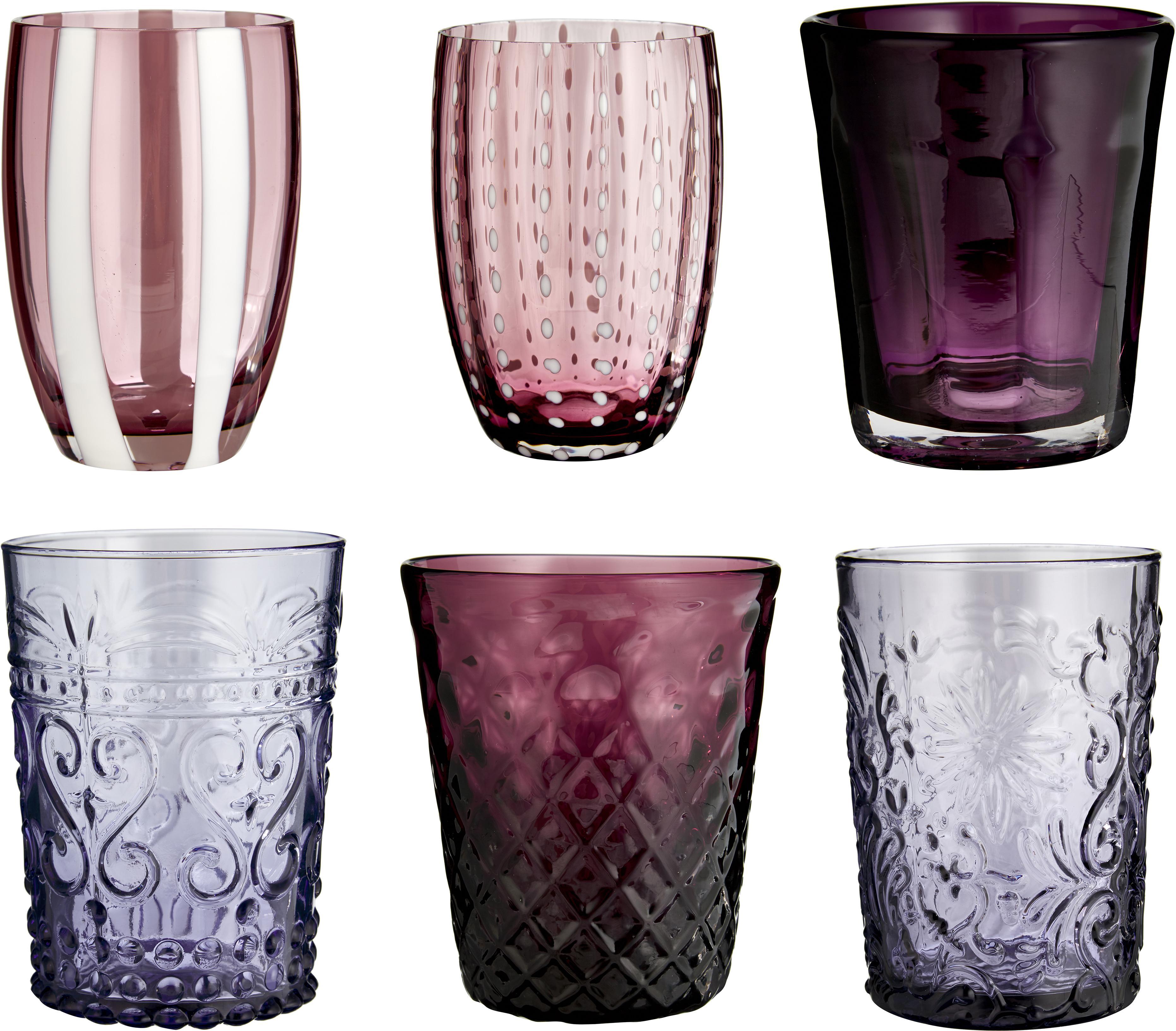 Mondgeblazen waterglazen set Melting Pot Berry, 6-delig, Glas, Blauwtinten, roodtinten, Set met verschillende formaten
