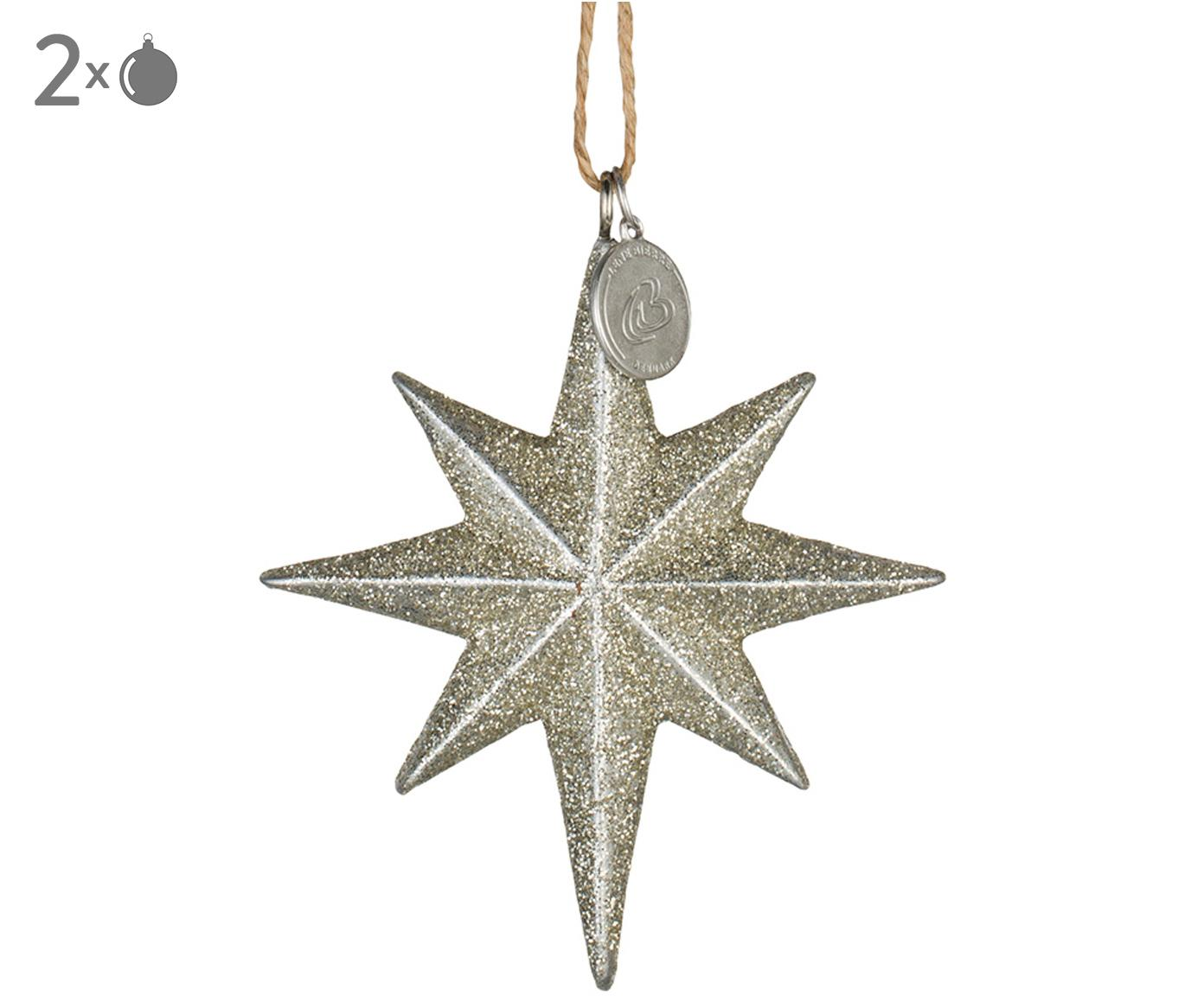 Adornos navideños Serafina Star, 2uds., Dorado, An 7 x Al 8 cm